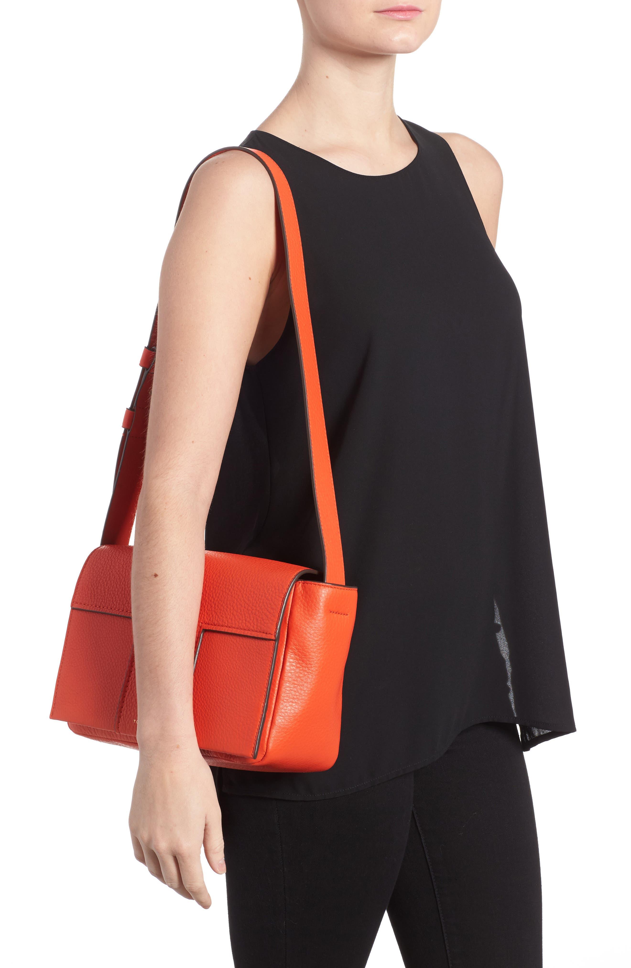 Block-T Pebbled Leather Shoulder Bag,                             Alternate thumbnail 2, color,                             Spicy Orange