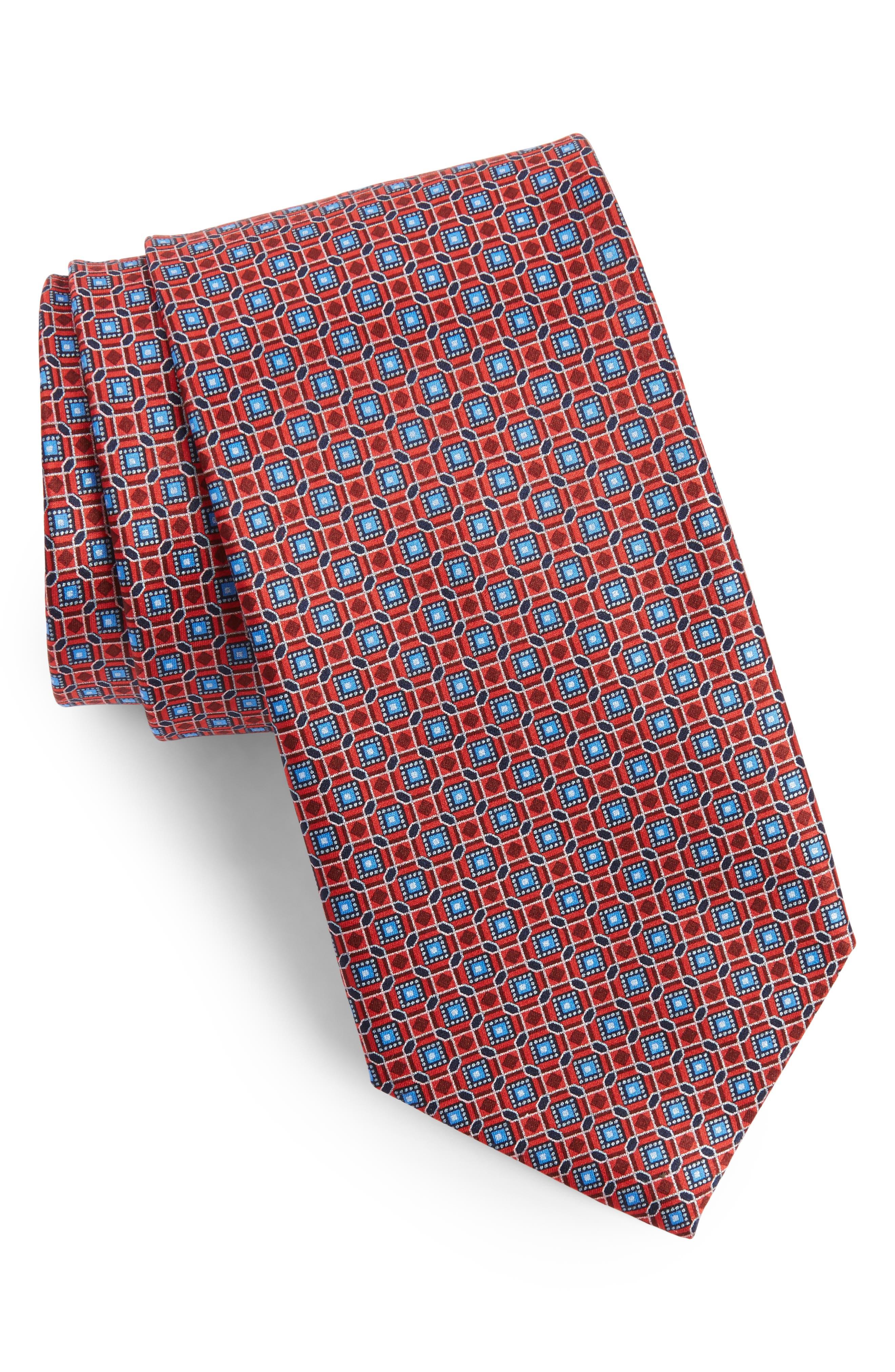 Canali Neat Print Silk Tie