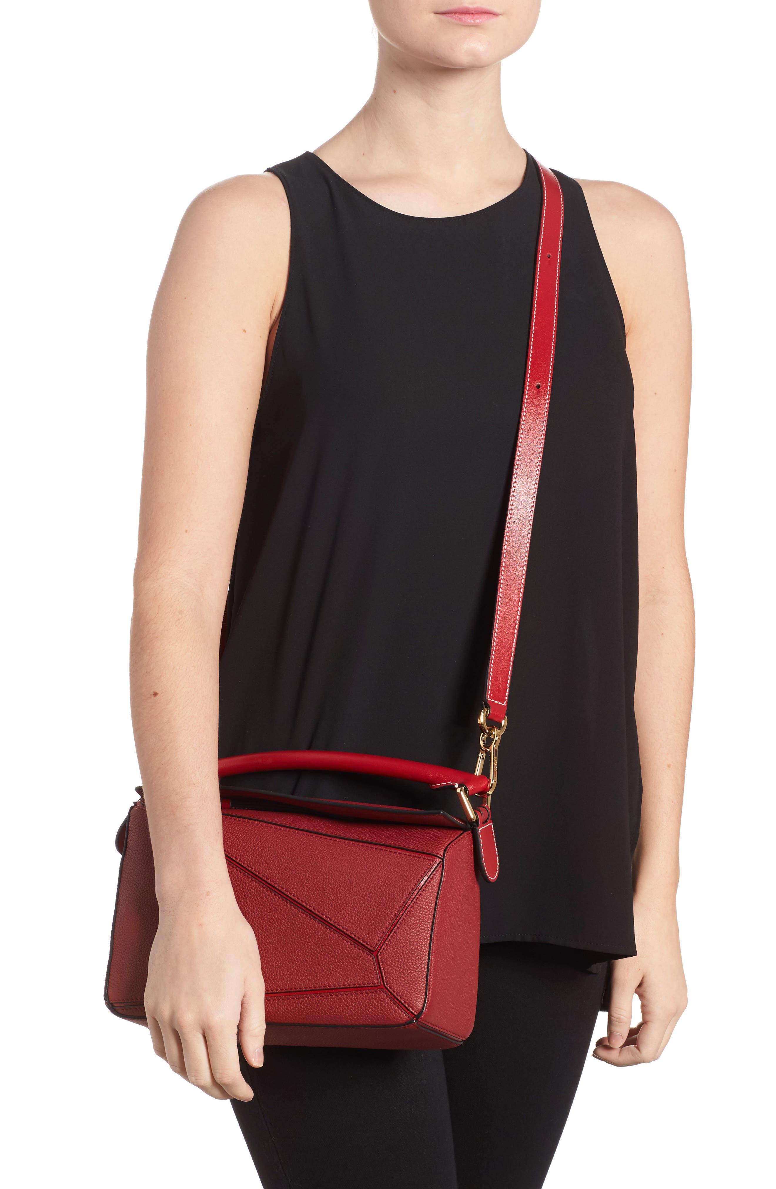Small Puzzle Leather Shoulder Bag,                             Alternate thumbnail 2, color,                             Rouge