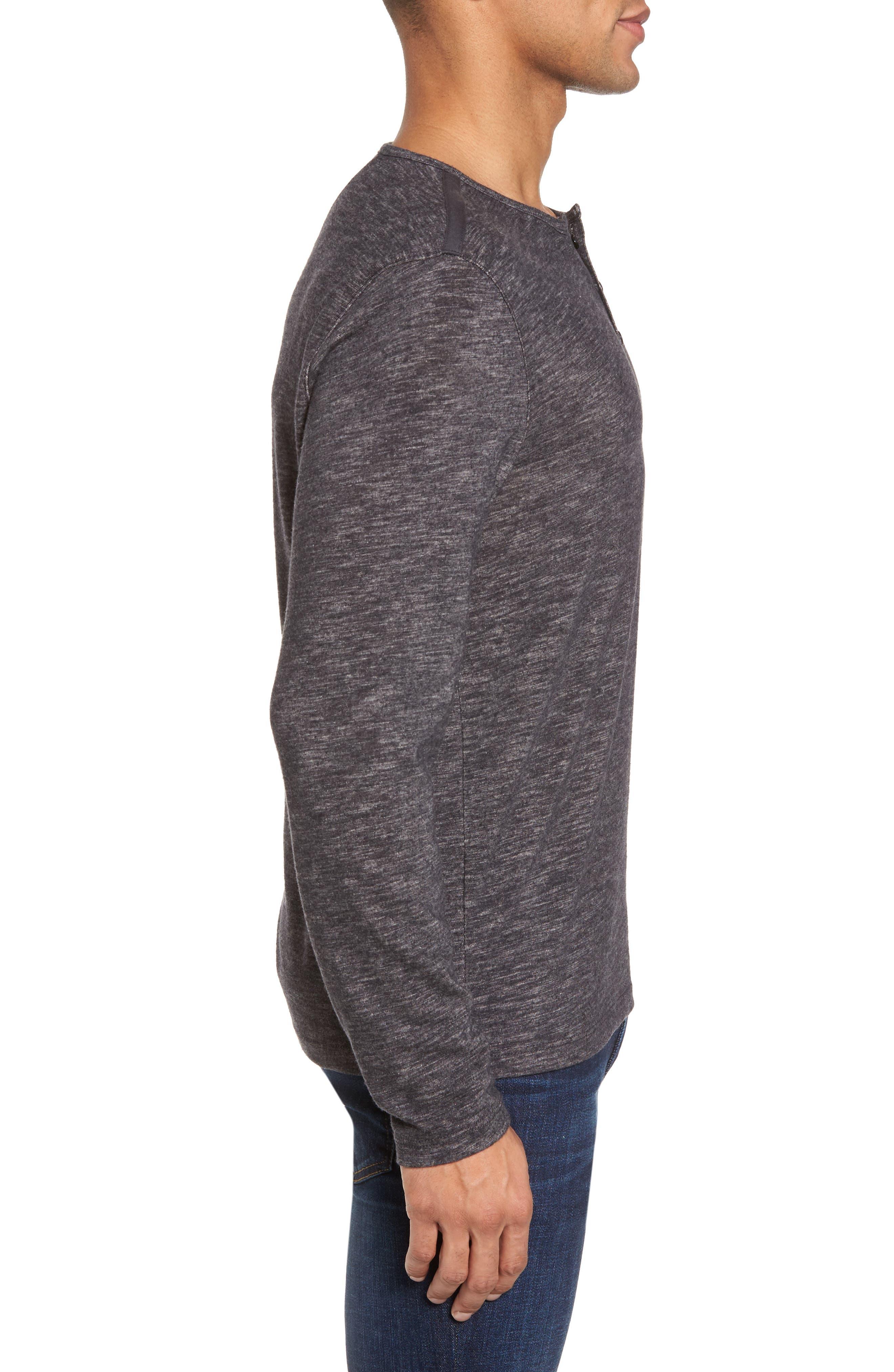 Long Sleeve Slub Knit Henley,                             Alternate thumbnail 3, color,                             Charcoal