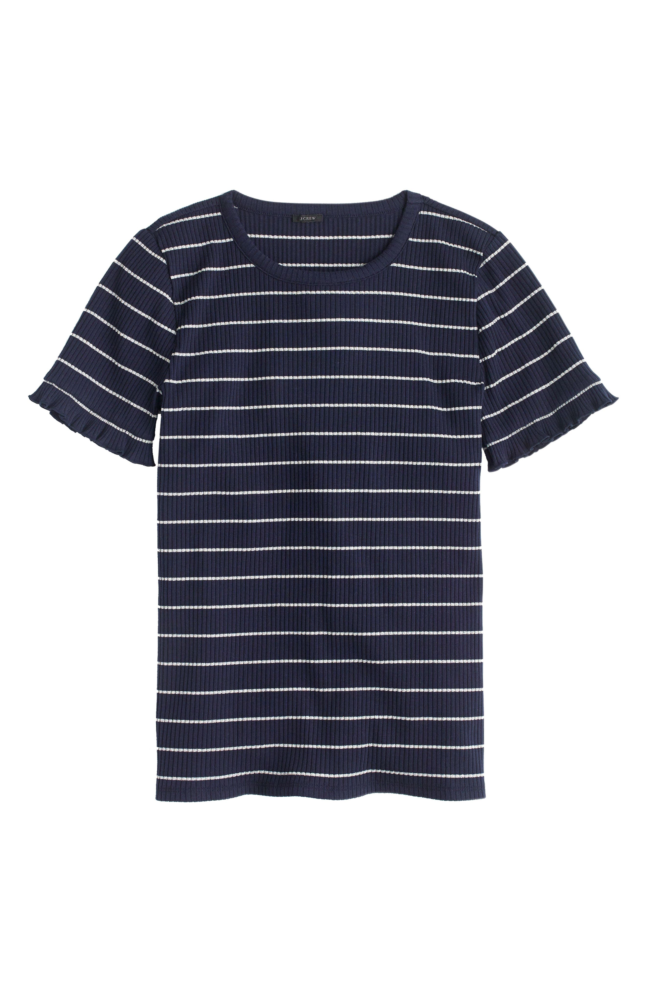 J.Crew Ribbed Stripe Tee with Ruffle Sleeves,                             Main thumbnail 1, color,                             Navy/ Silver