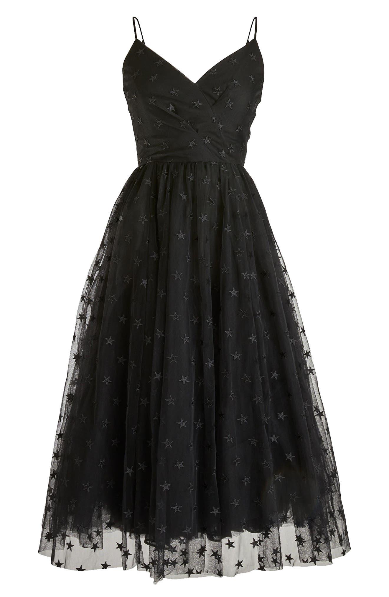 J.Crew Spaghetti Strap Star Tulle Dress,                             Alternate thumbnail 4, color,                             Black