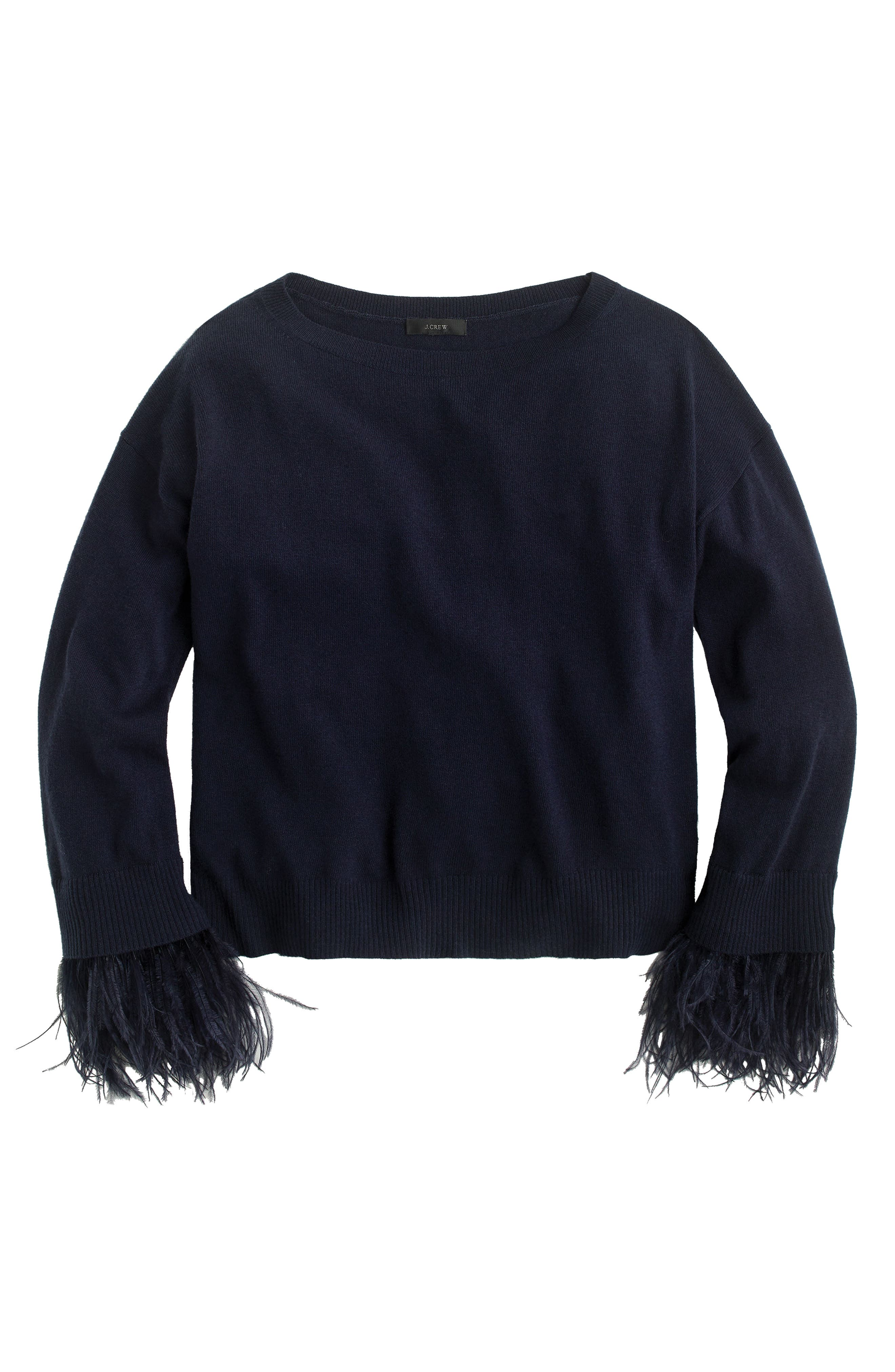 Feather Sleeve Crewneck Sweater,                         Main,                         color, Navy