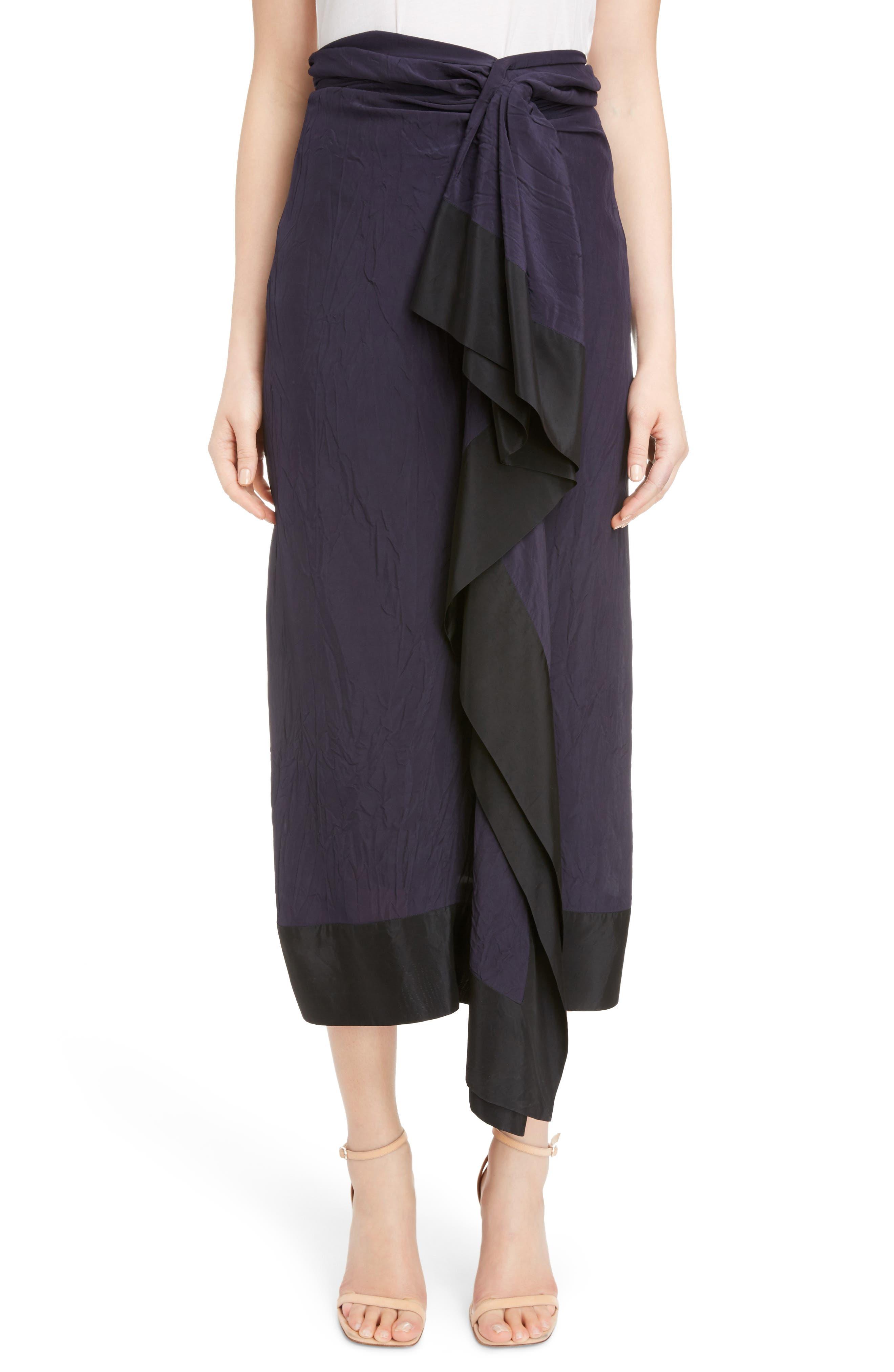 Dries Van Noten Pareo Tie Front Midi Skirt