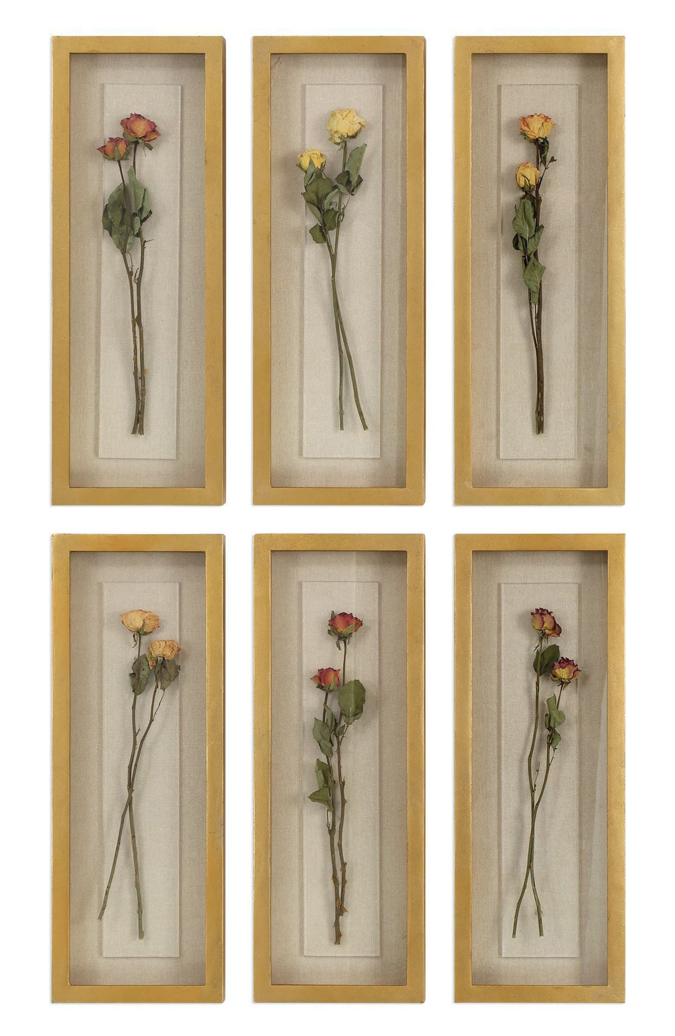 Rosalie Set of 6 Shadowboxes,                         Main,                         color, Metallic Gold