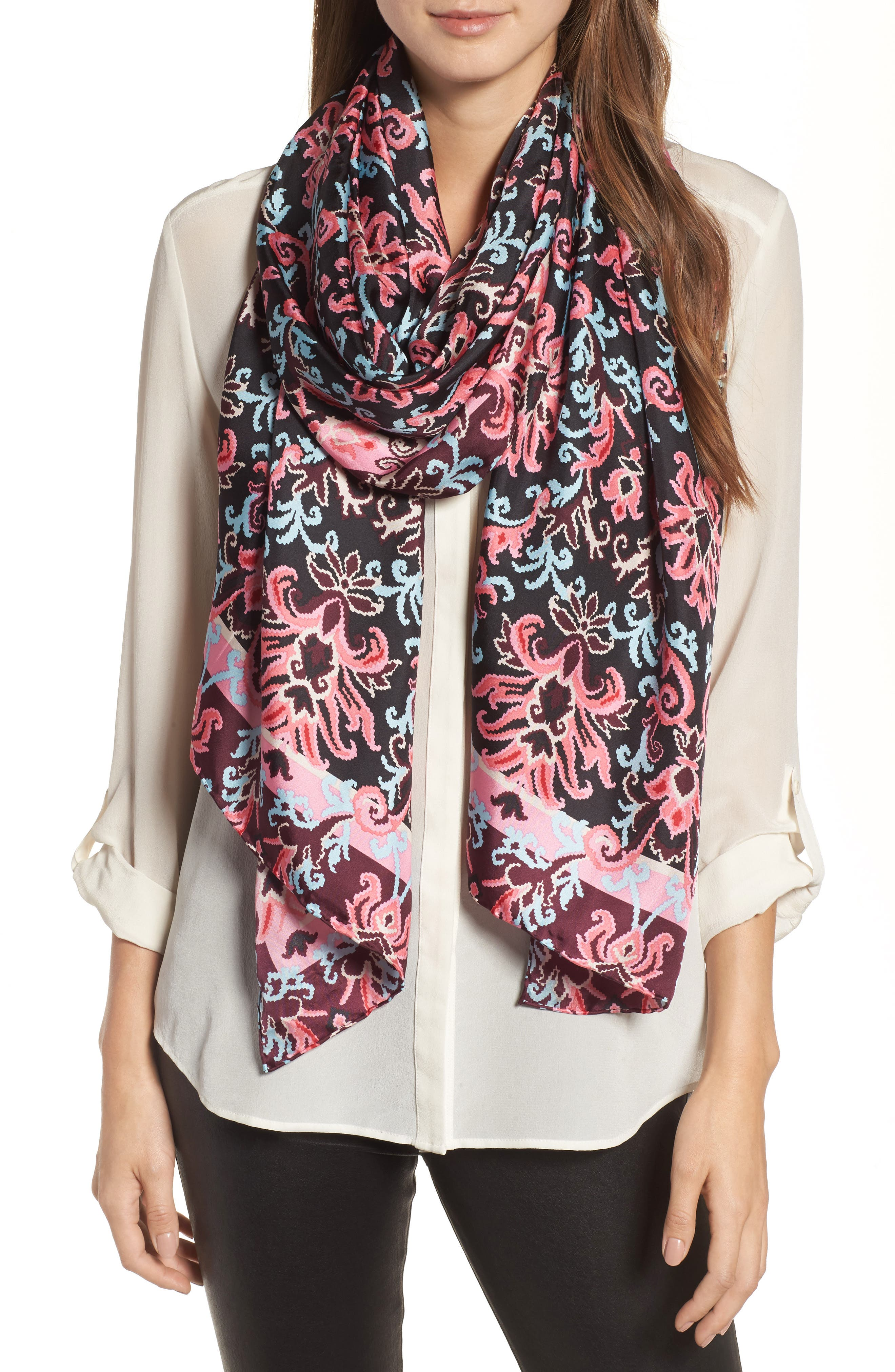 tapestry silk oblong scarf,                         Main,                         color, Black
