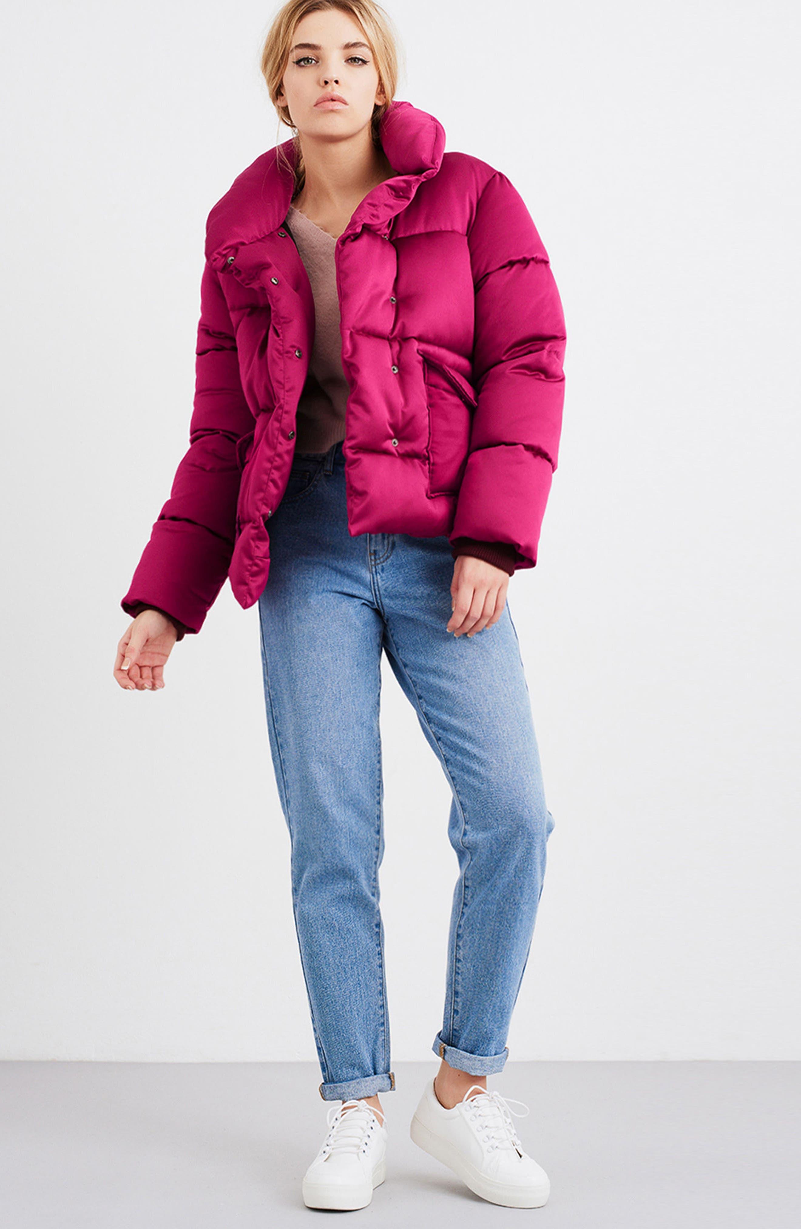 Satin Puffer Jacket,                             Alternate thumbnail 7, color,                             Bright Pink