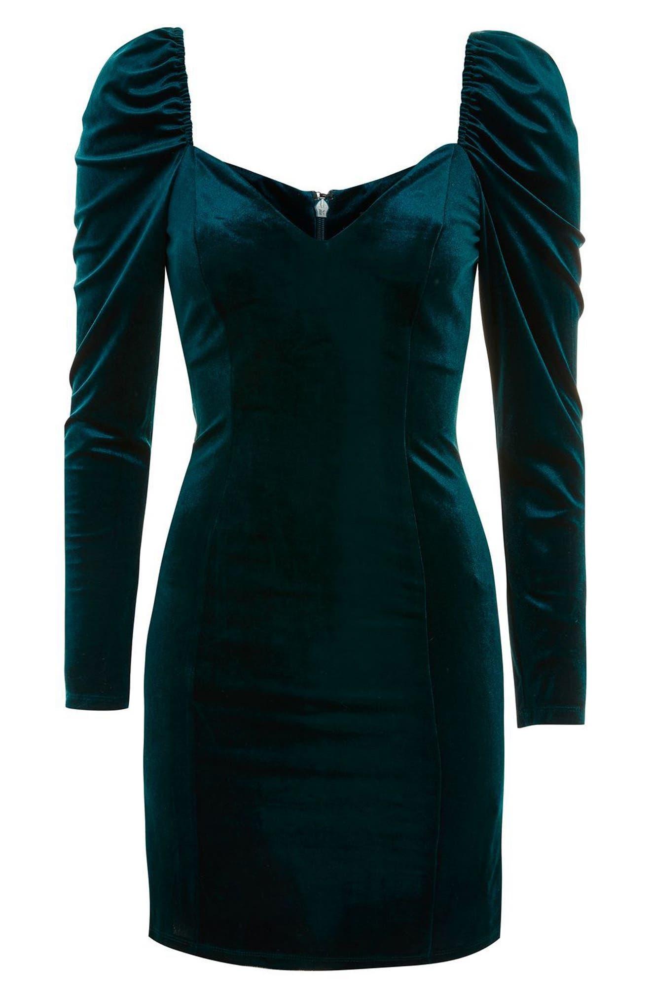 Velvet Sweetheart Neck Body-Con Dress,                             Alternate thumbnail 4, color,                             Teal