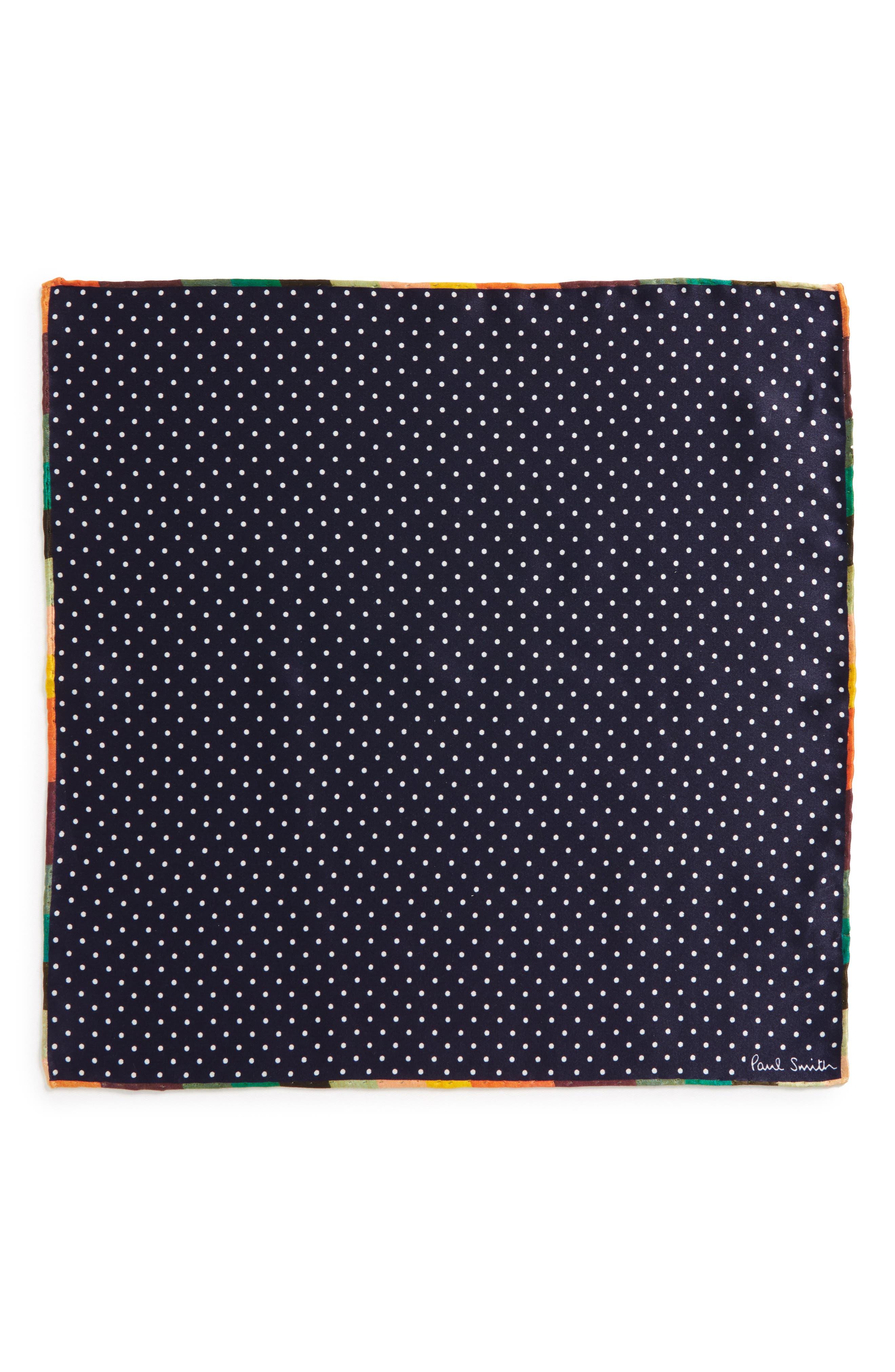 Artist Edge Pin Dot Silk Pocket Square,                             Alternate thumbnail 2, color,                             Navy