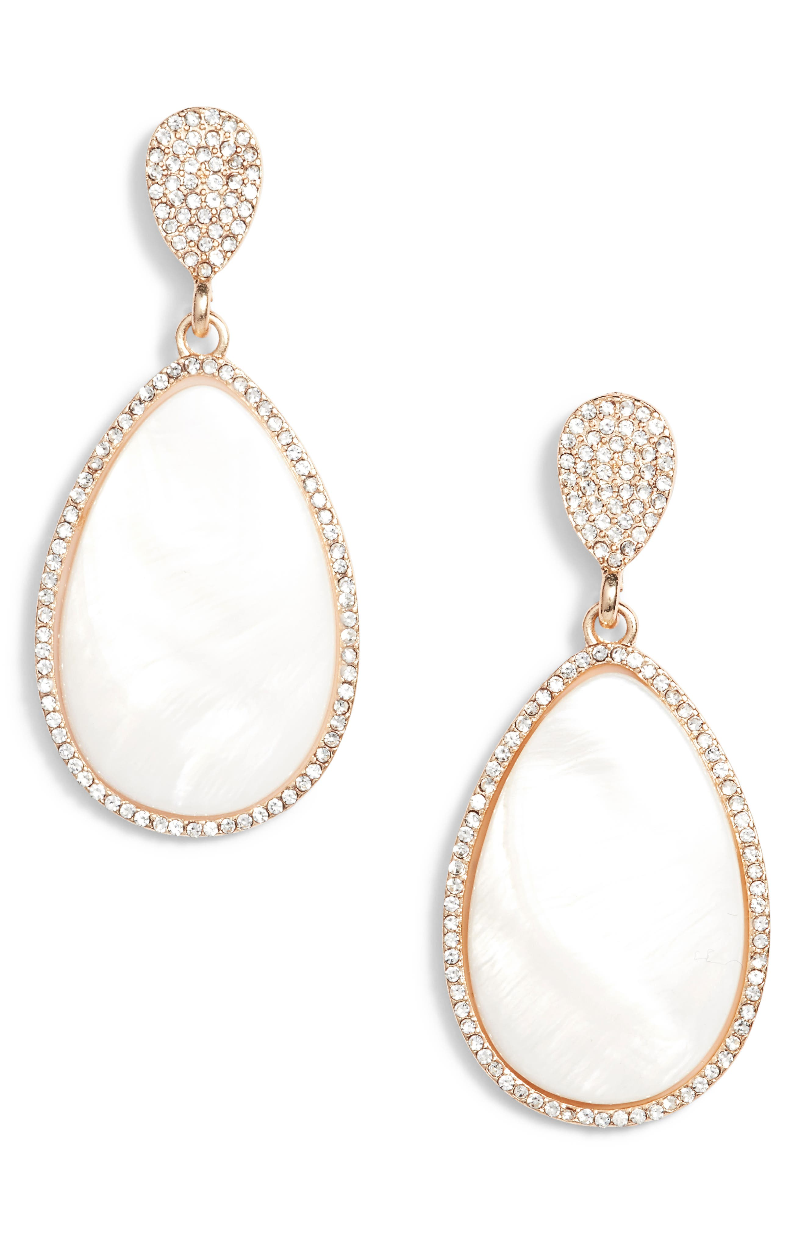 Mother-of-Pearl Drop Earrings,                         Main,                         color, Gold/ White