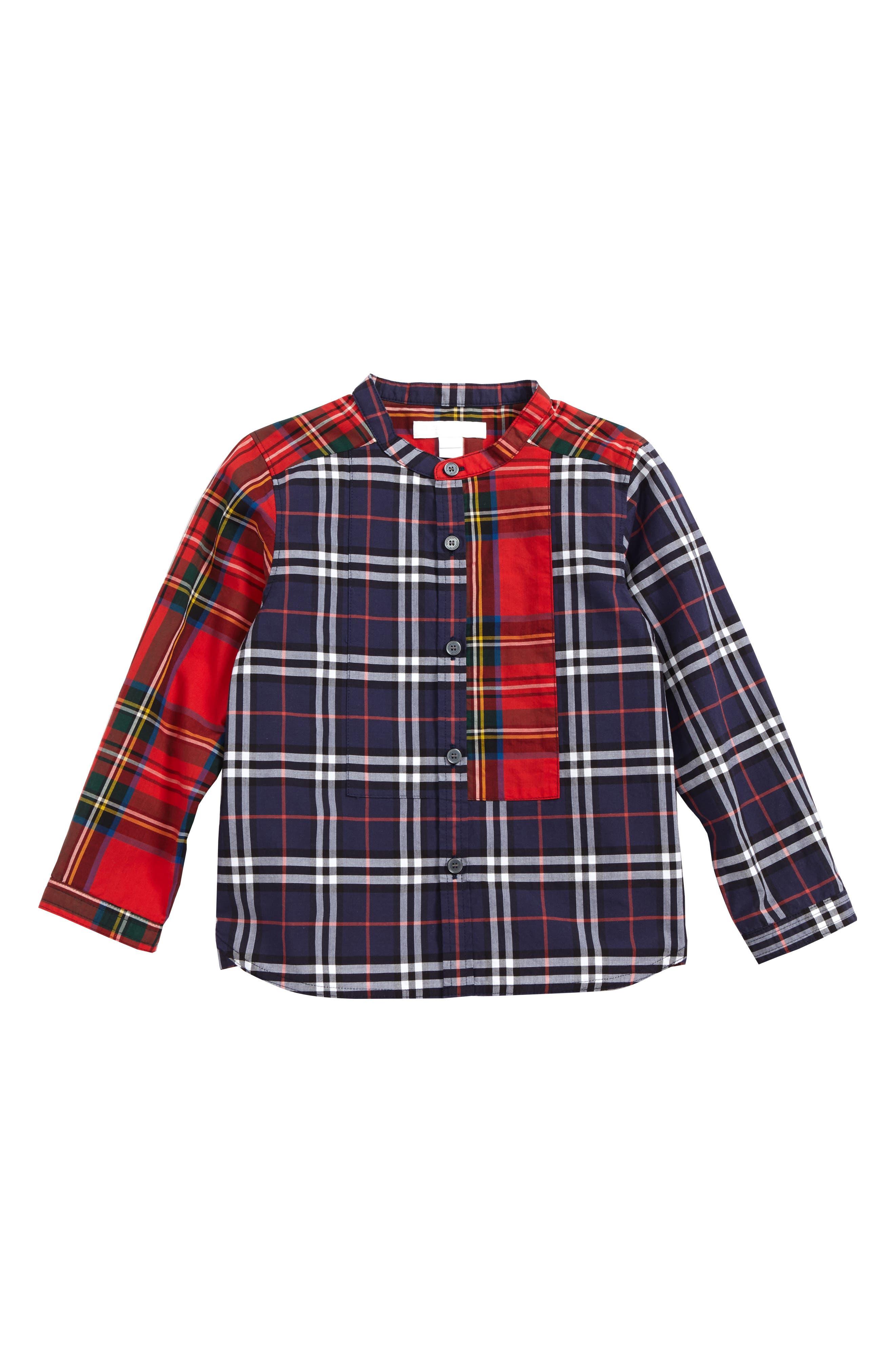 Argus Check Print Woven Shirt,                             Main thumbnail 1, color,                             Navy