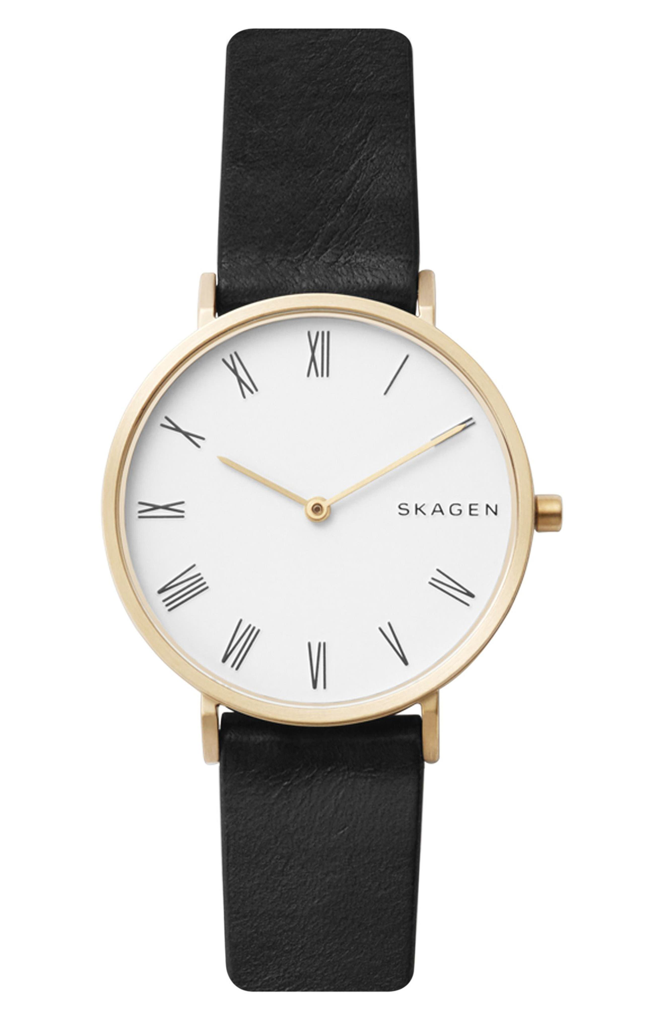 Slim Hald Leather Strap Watch, 34mm,                         Main,                         color, Black/ White/ Gold