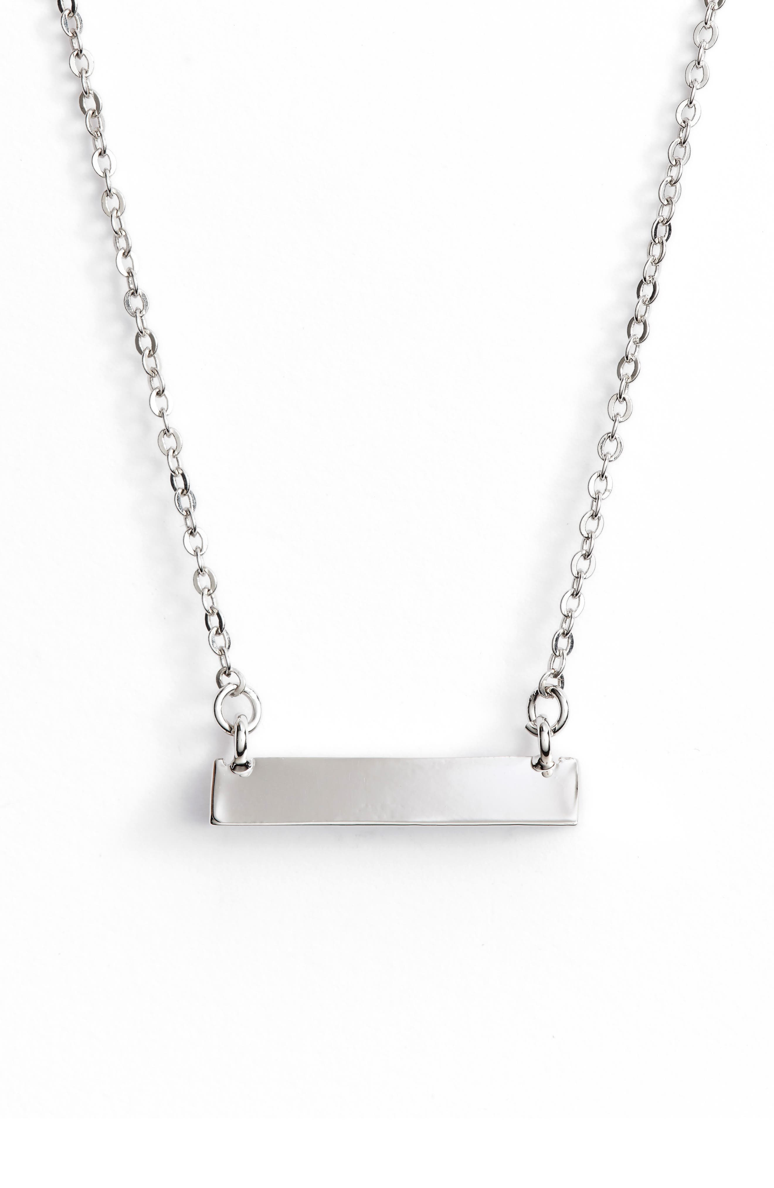 Triangle Shaped Bar Pendant Necklace,                         Main,                         color, Silver