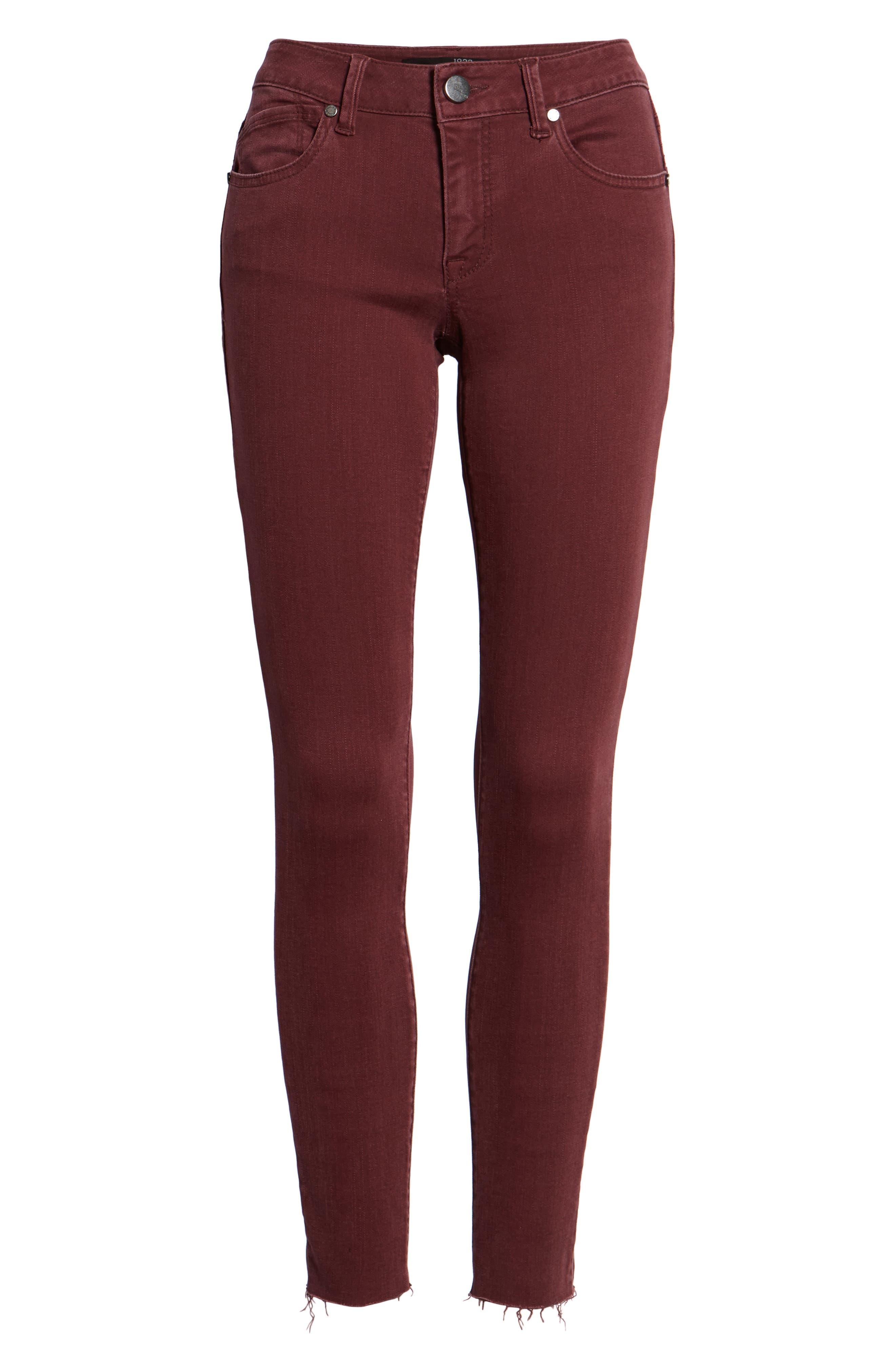 Raw Hem Skinny Jeans,                             Alternate thumbnail 7, color,                             Rumba Red