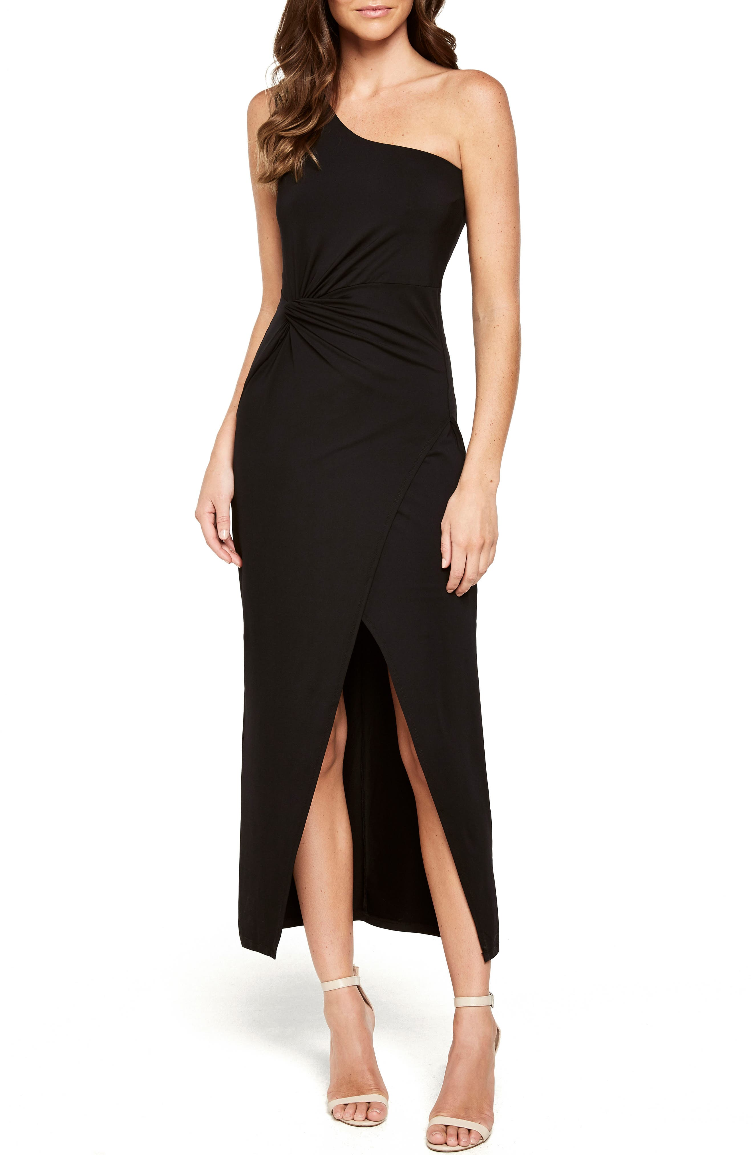 Avril One-Shoulder Maxi Dress,                             Main thumbnail 1, color,                             Black