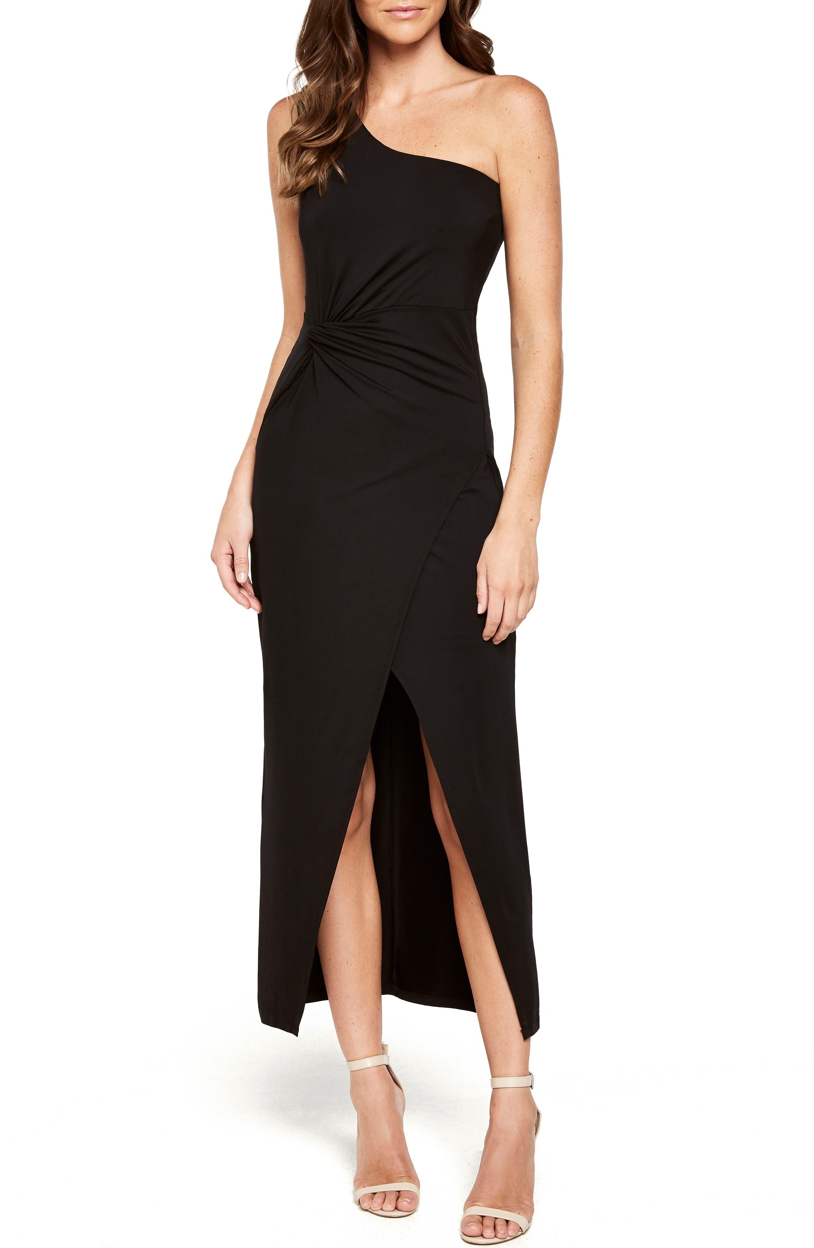 Avril One-Shoulder Maxi Dress,                         Main,                         color, Black