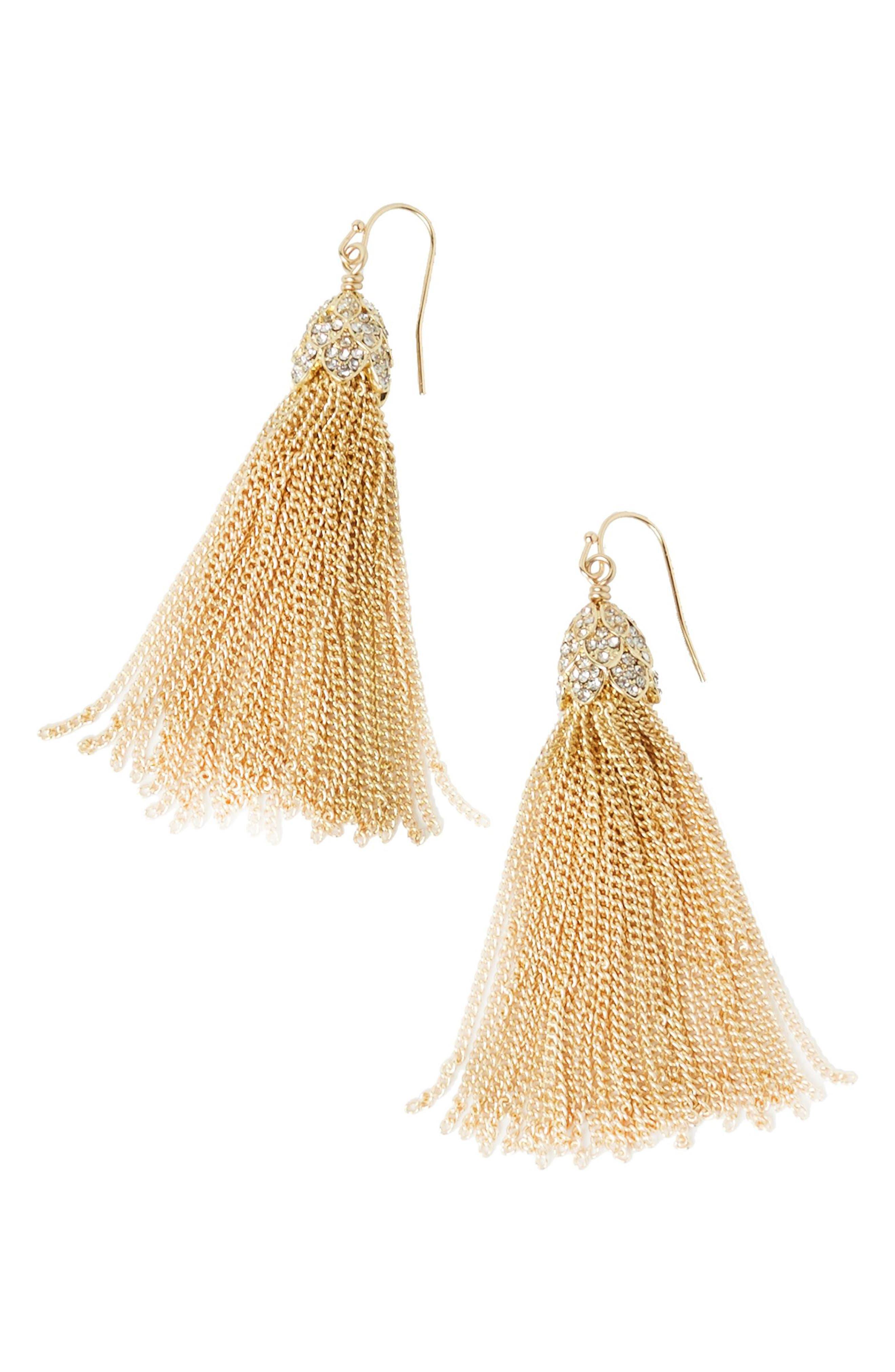 Flora Tassel Earrings,                         Main,                         color, Gold Metallic