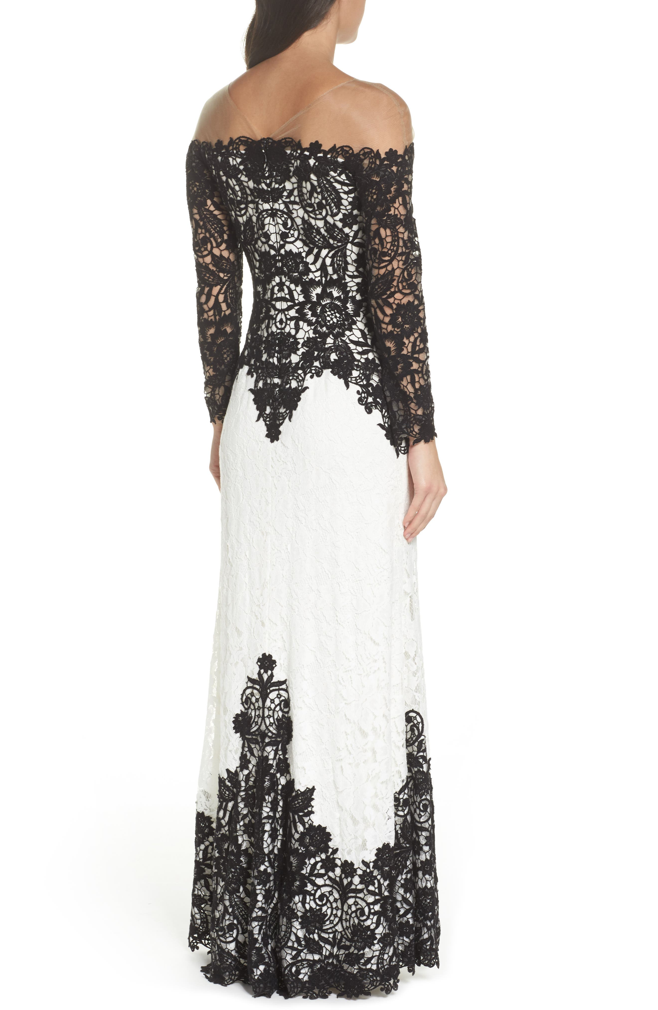 Illusion Neck Two-Tone Lace Gown,                             Alternate thumbnail 2, color,                             Black/ Ivory