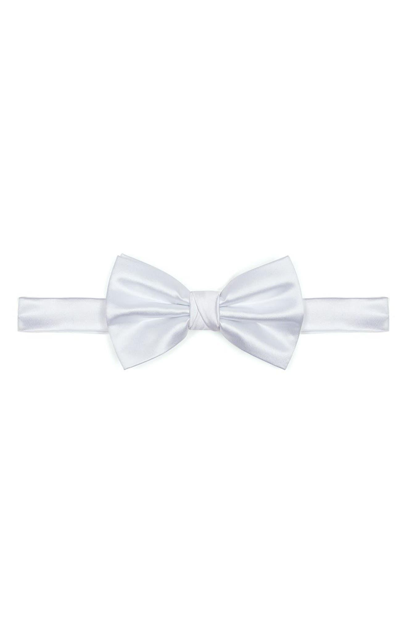 Twill Bow Tie,                         Main,                         color, White