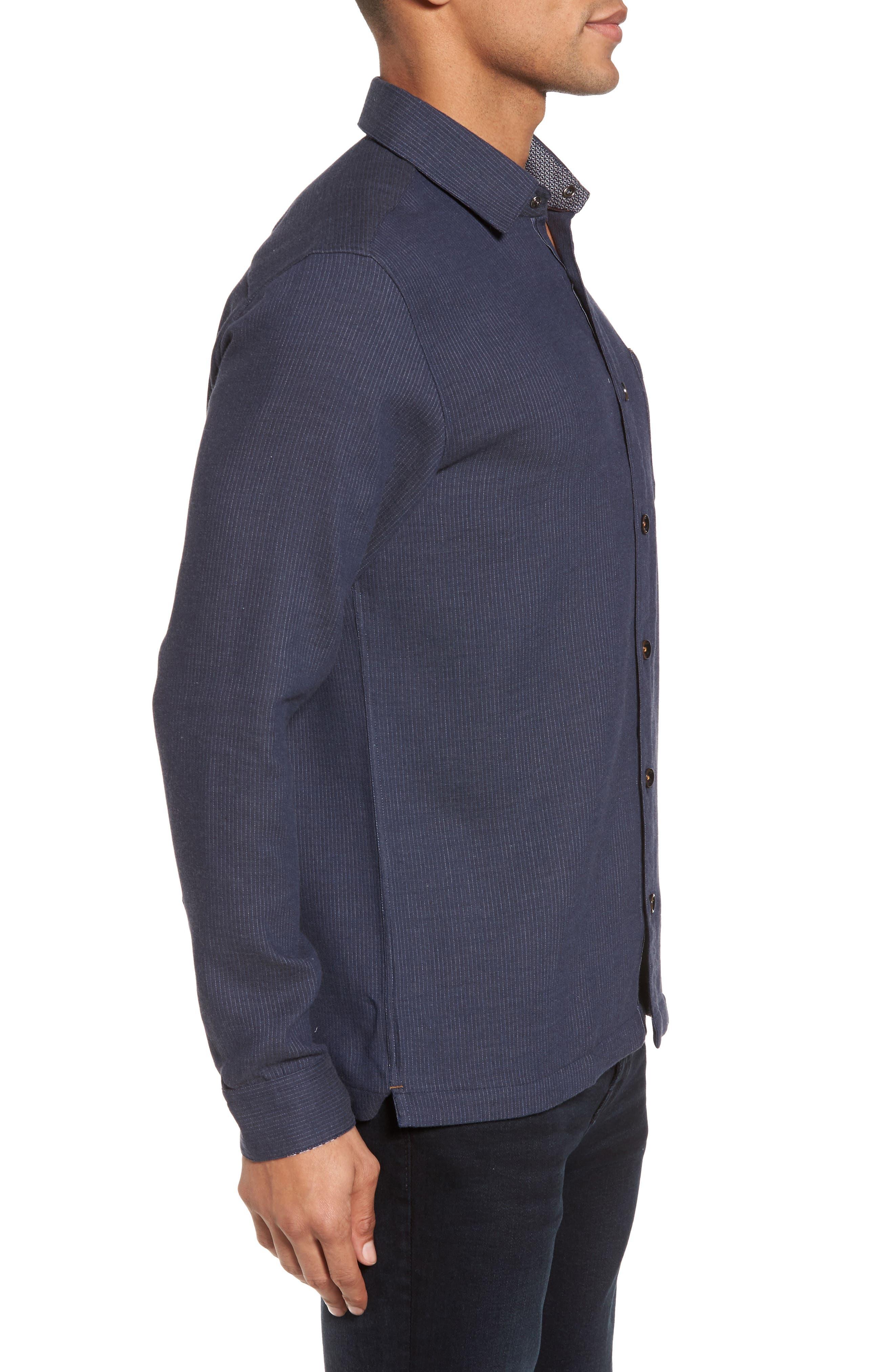 Slim Fit Stripe Workwear Shirt,                             Alternate thumbnail 3, color,                             Navy