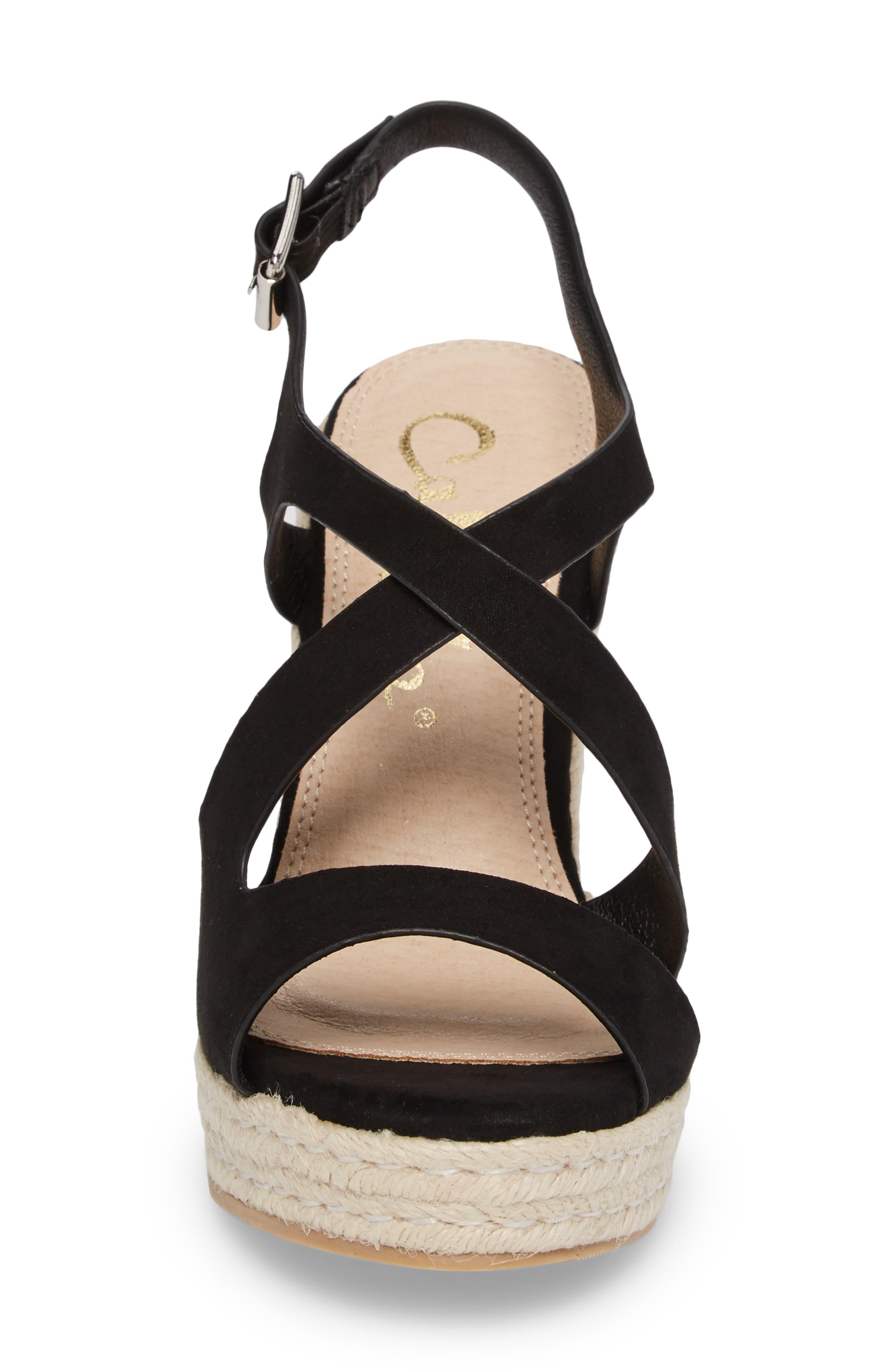 Brielle Wedge Sandal,                             Alternate thumbnail 4, color,                             Black Suede