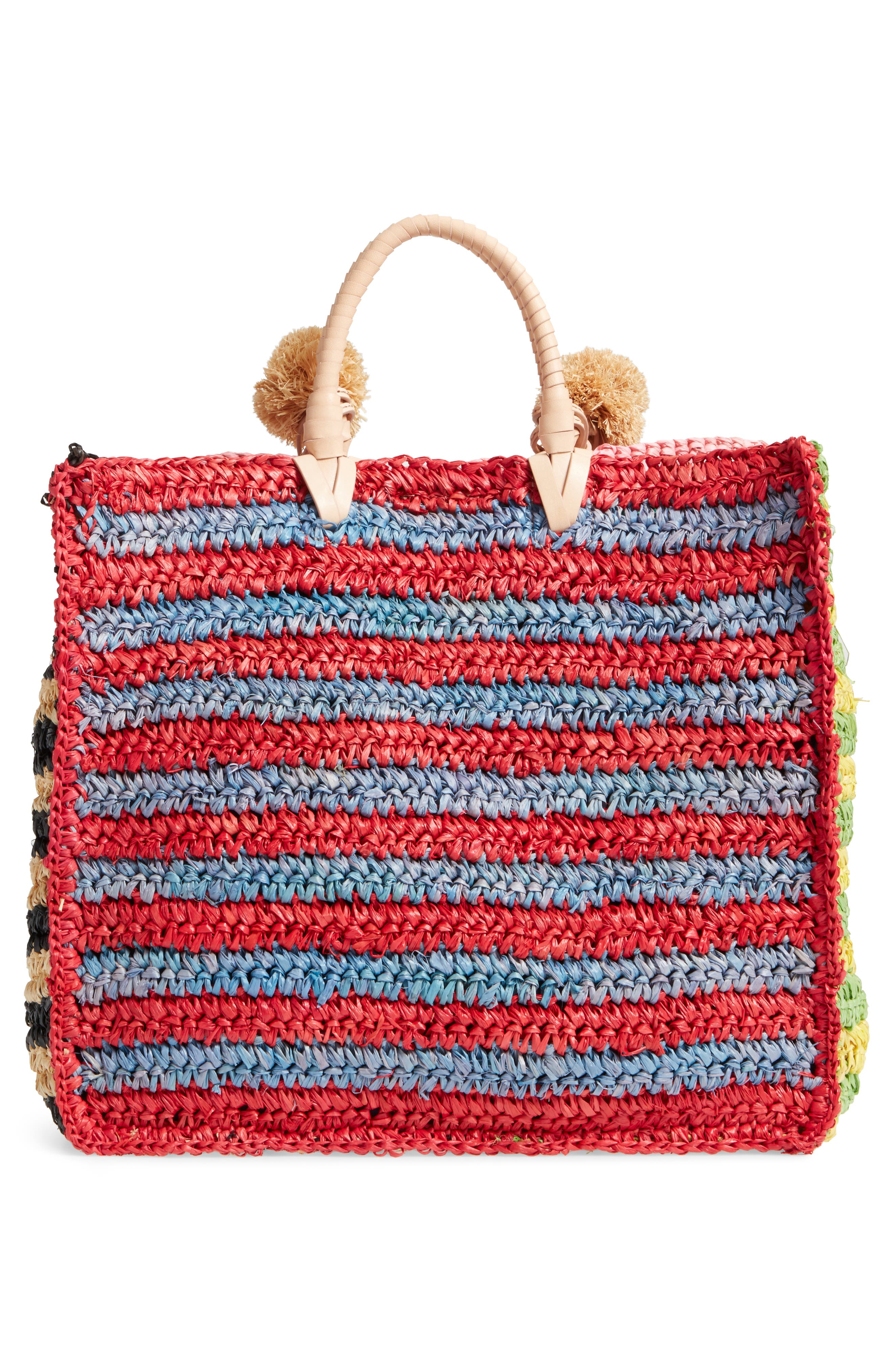 Straw Travel Tote,                             Alternate thumbnail 3, color,                             Rainbow