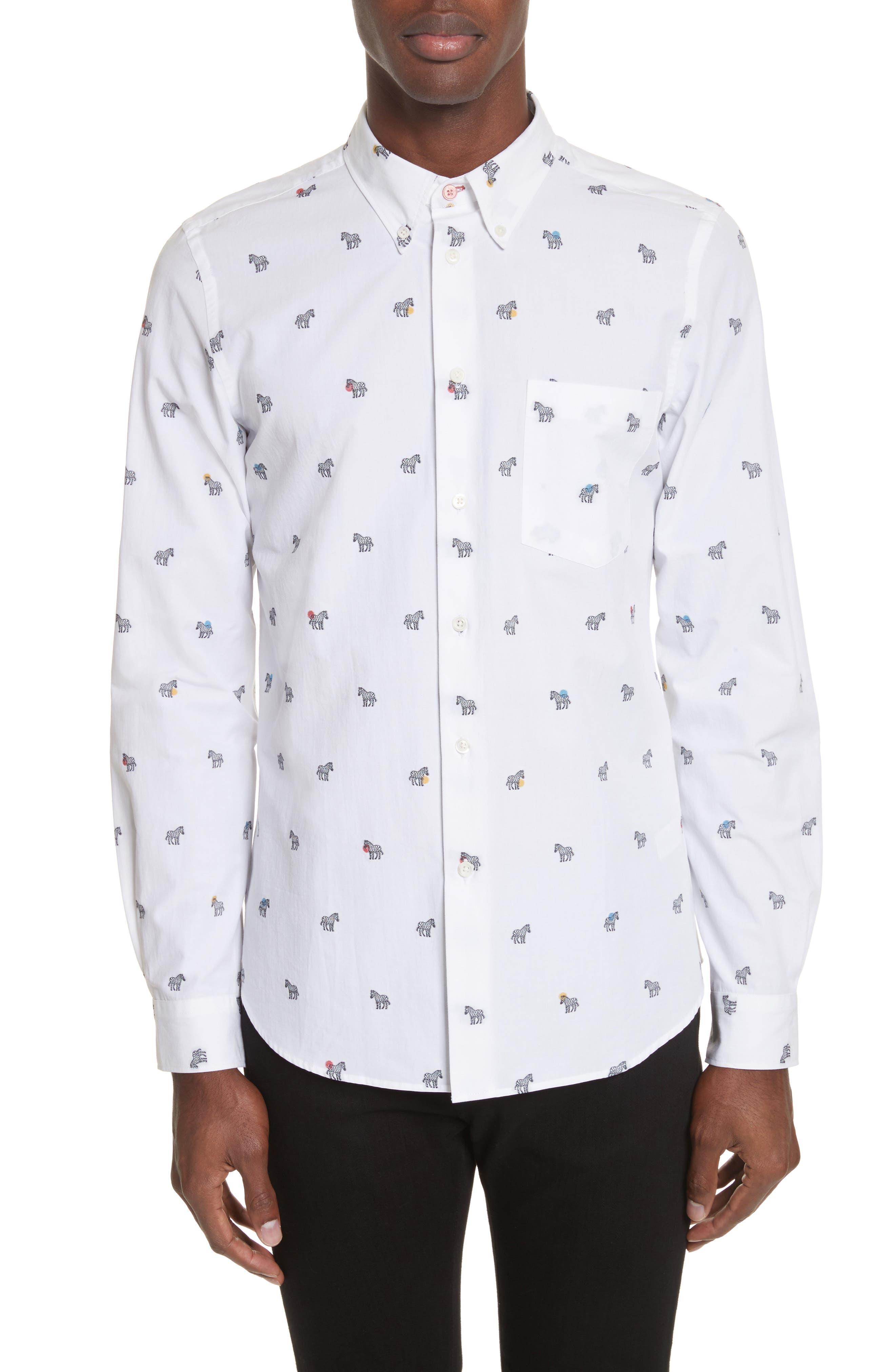 Allover Zebra Woven Shirt,                         Main,                         color, White