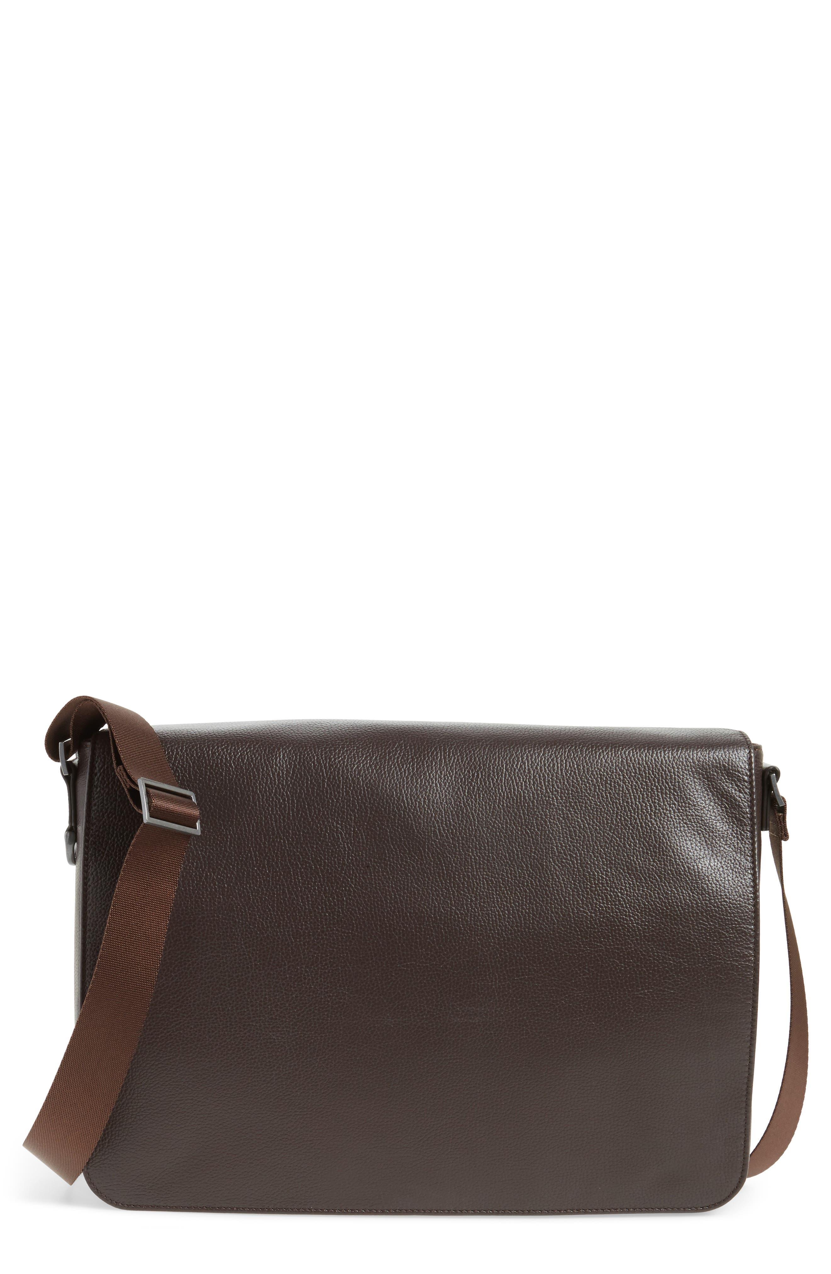 Midland Leather Messenger Bag,                             Main thumbnail 1, color,                             Brown