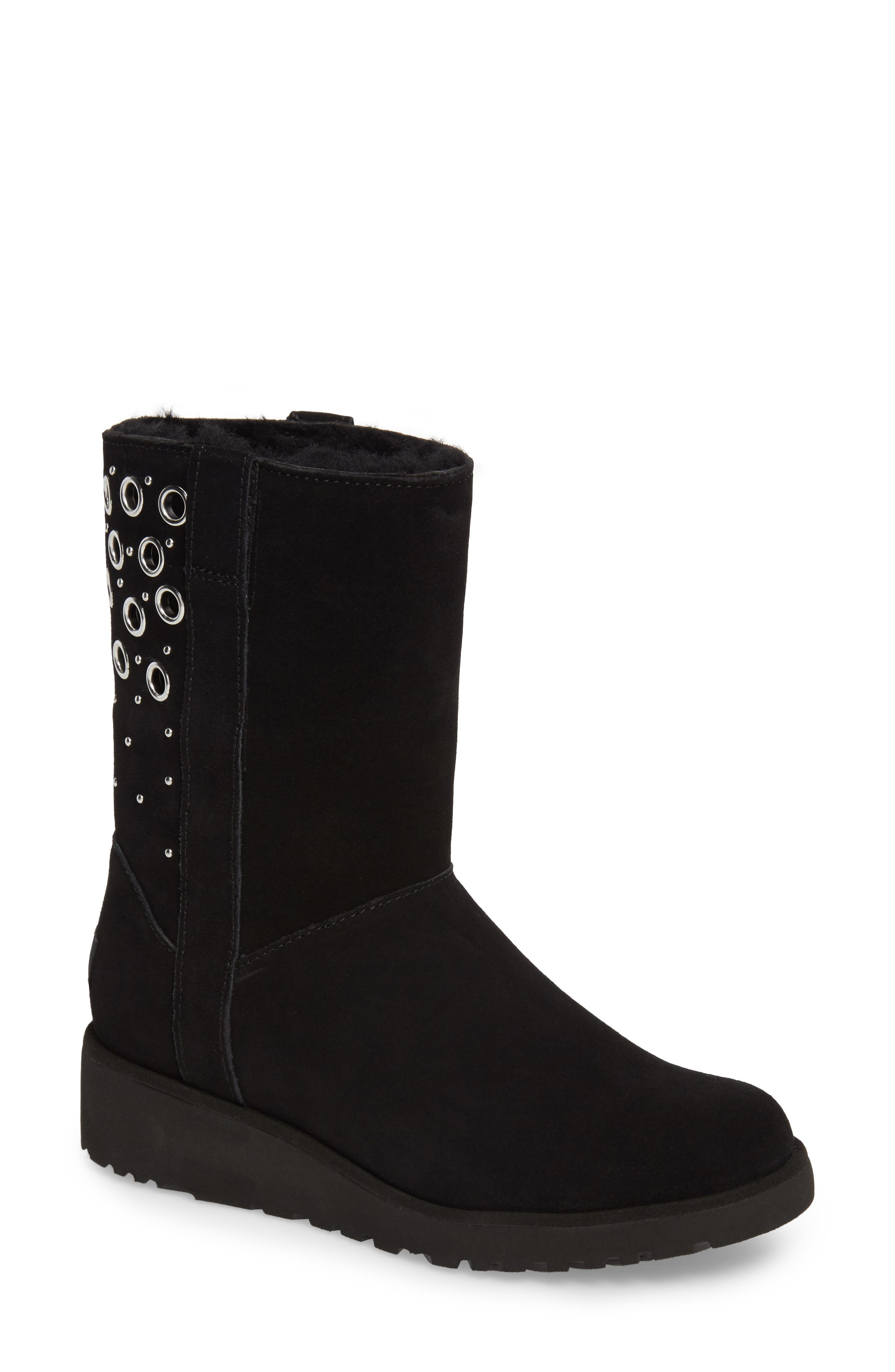 Madison Grommet Wedge Boot,                         Main,                         color, Black Suede