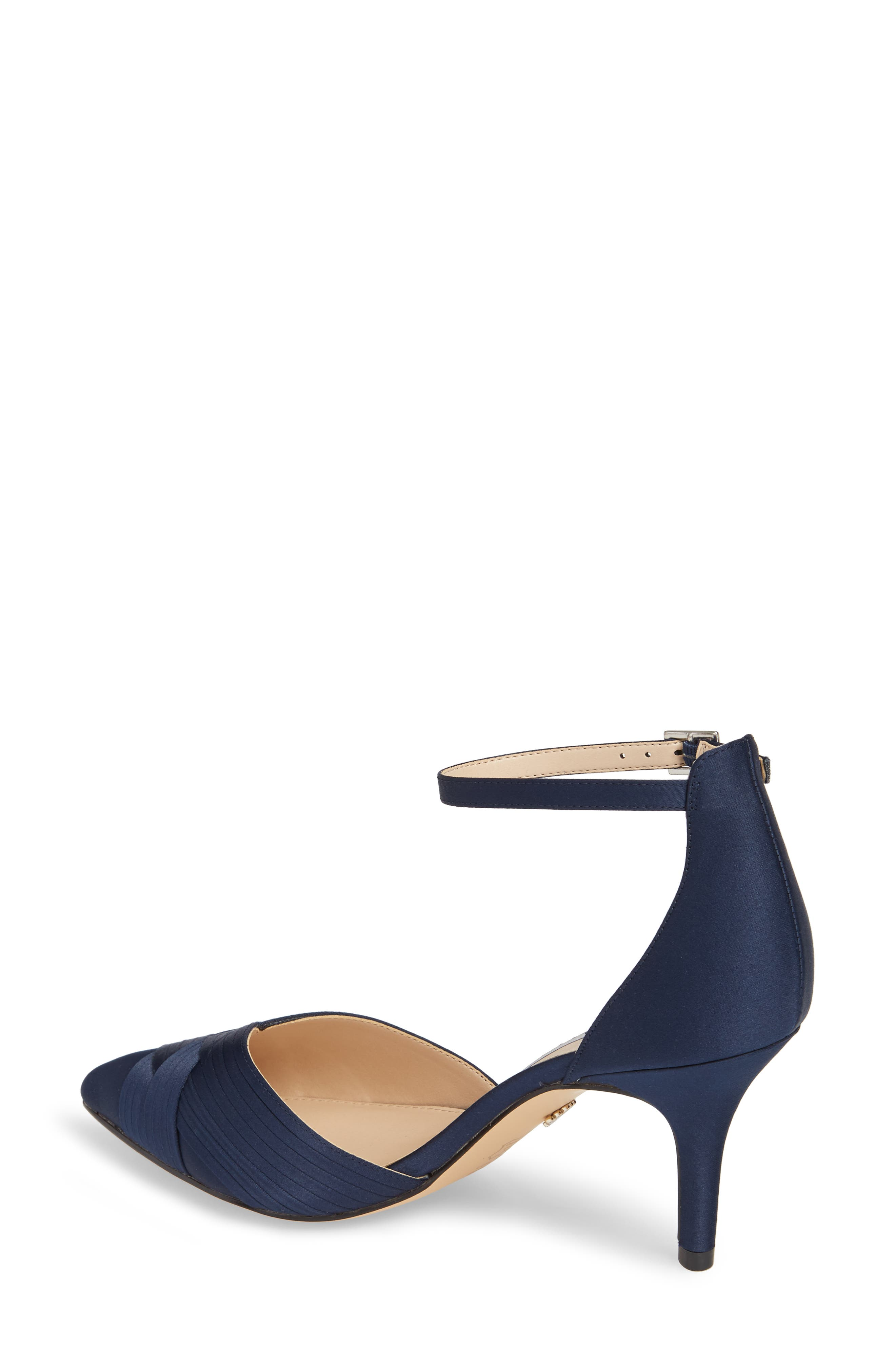 Teriann Ankle Strap Pump,                             Alternate thumbnail 2, color,                             Navy Satin
