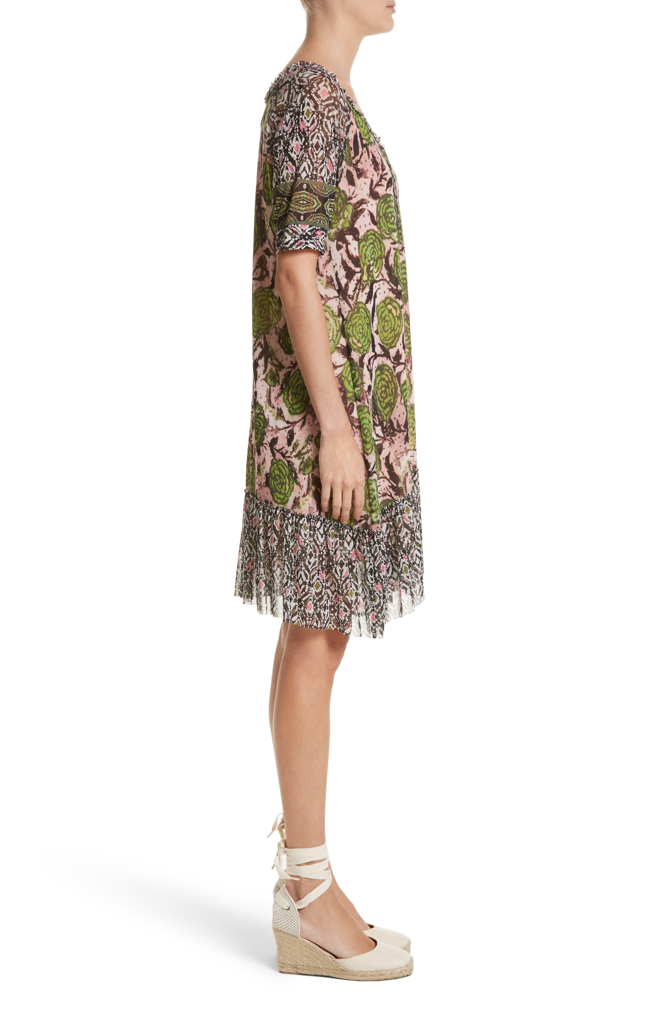 Print Tulle Peasant Dress,                             Alternate thumbnail 3, color,                             Pelato