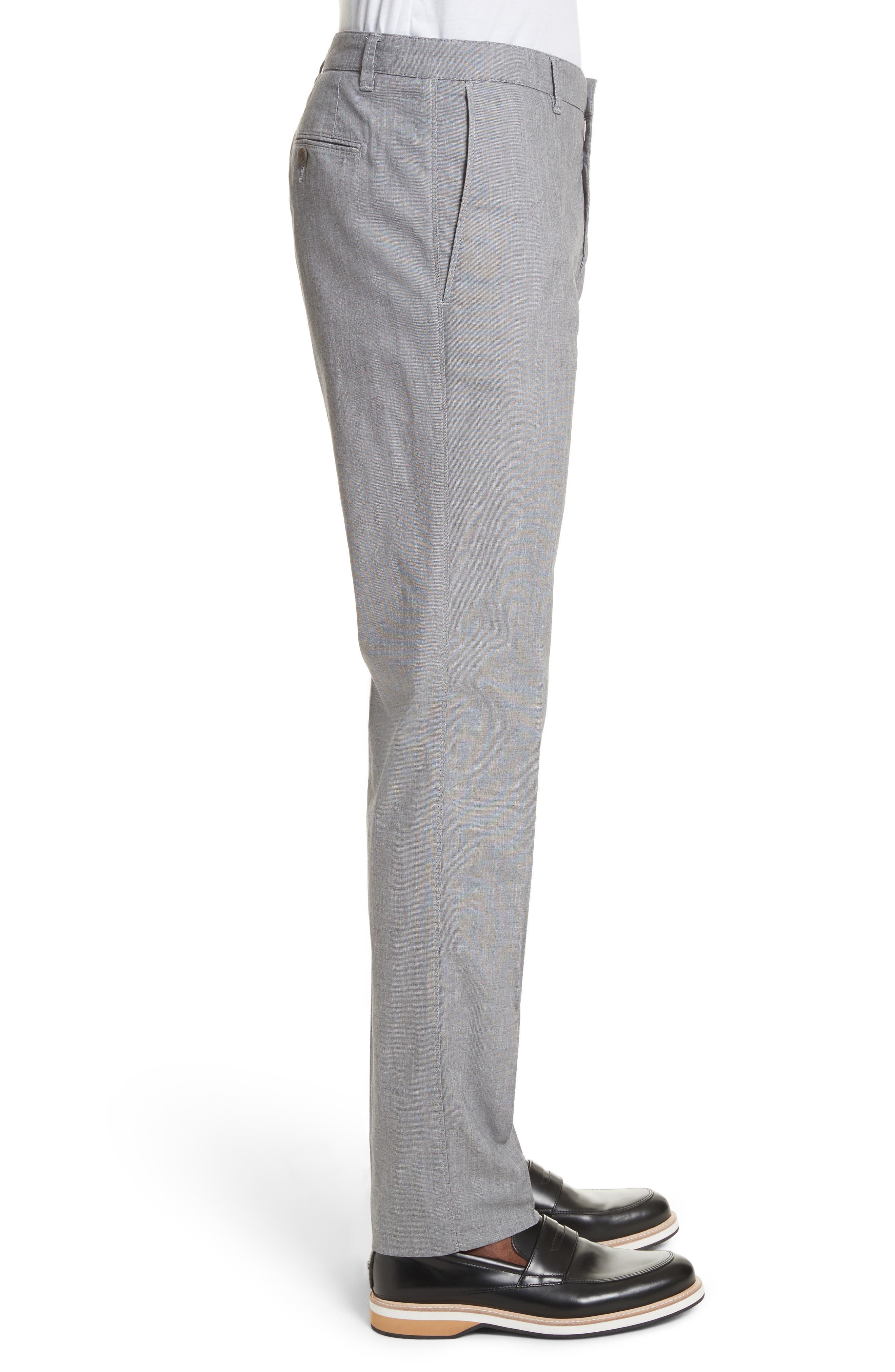 French Pocket Stretch Straight Leg Pants,                             Alternate thumbnail 3, color,                             Grey
