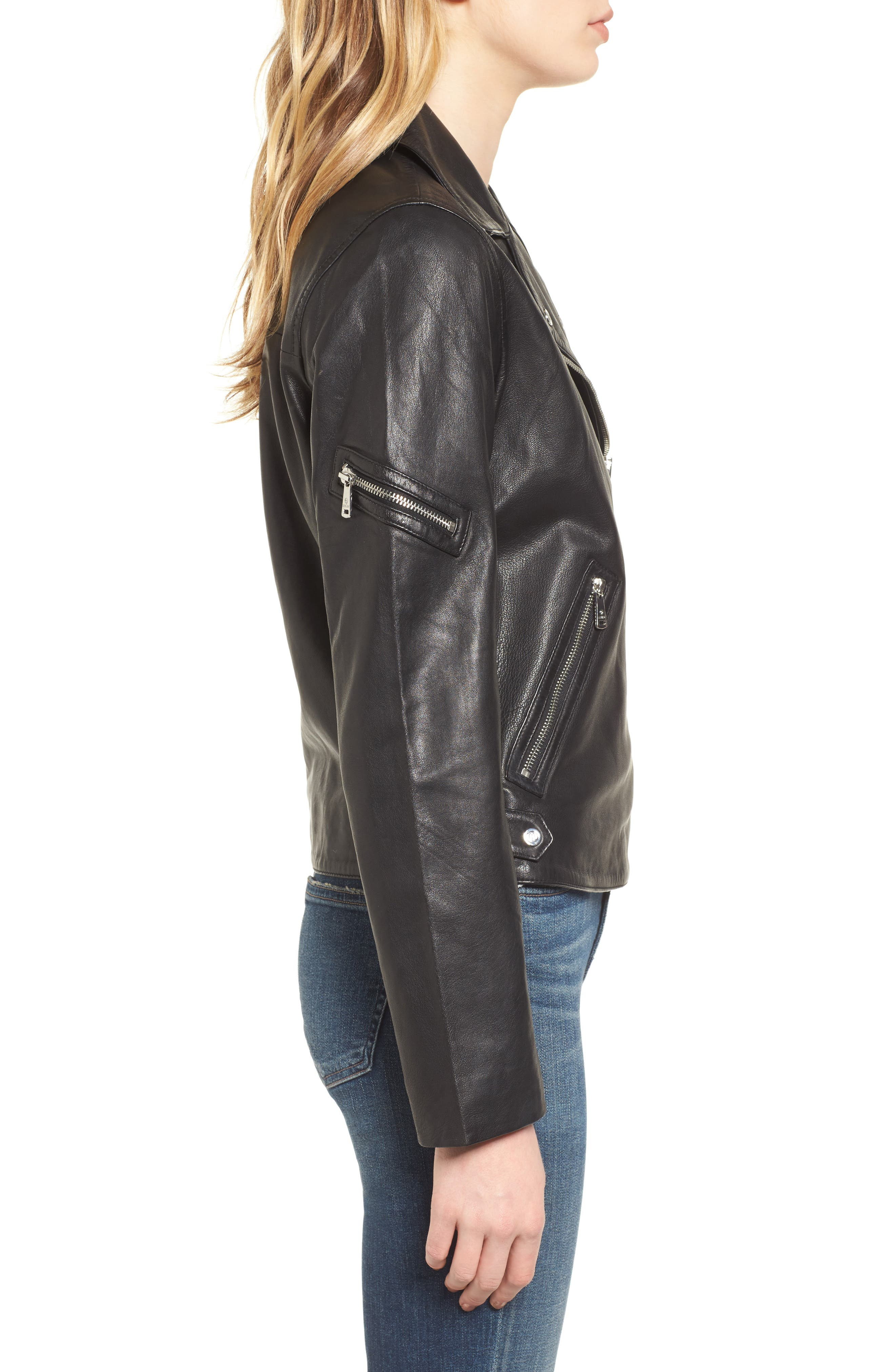 Kirwin Leather Moto Jacket,                             Alternate thumbnail 3, color,                             Black
