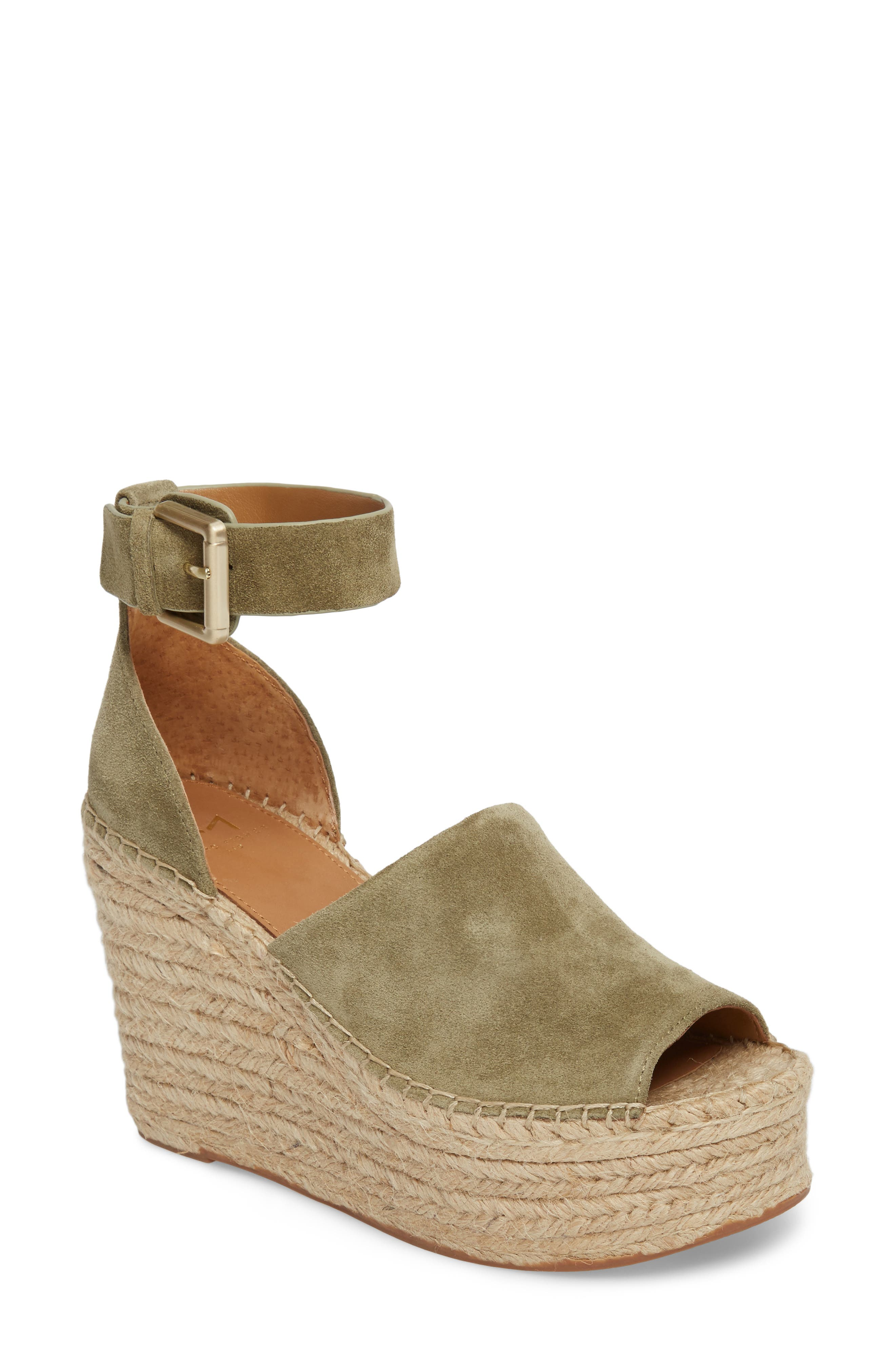 'Adalyn' Espadrille Wedge Sandal,                             Main thumbnail 1, color,                             Light Green Suede
