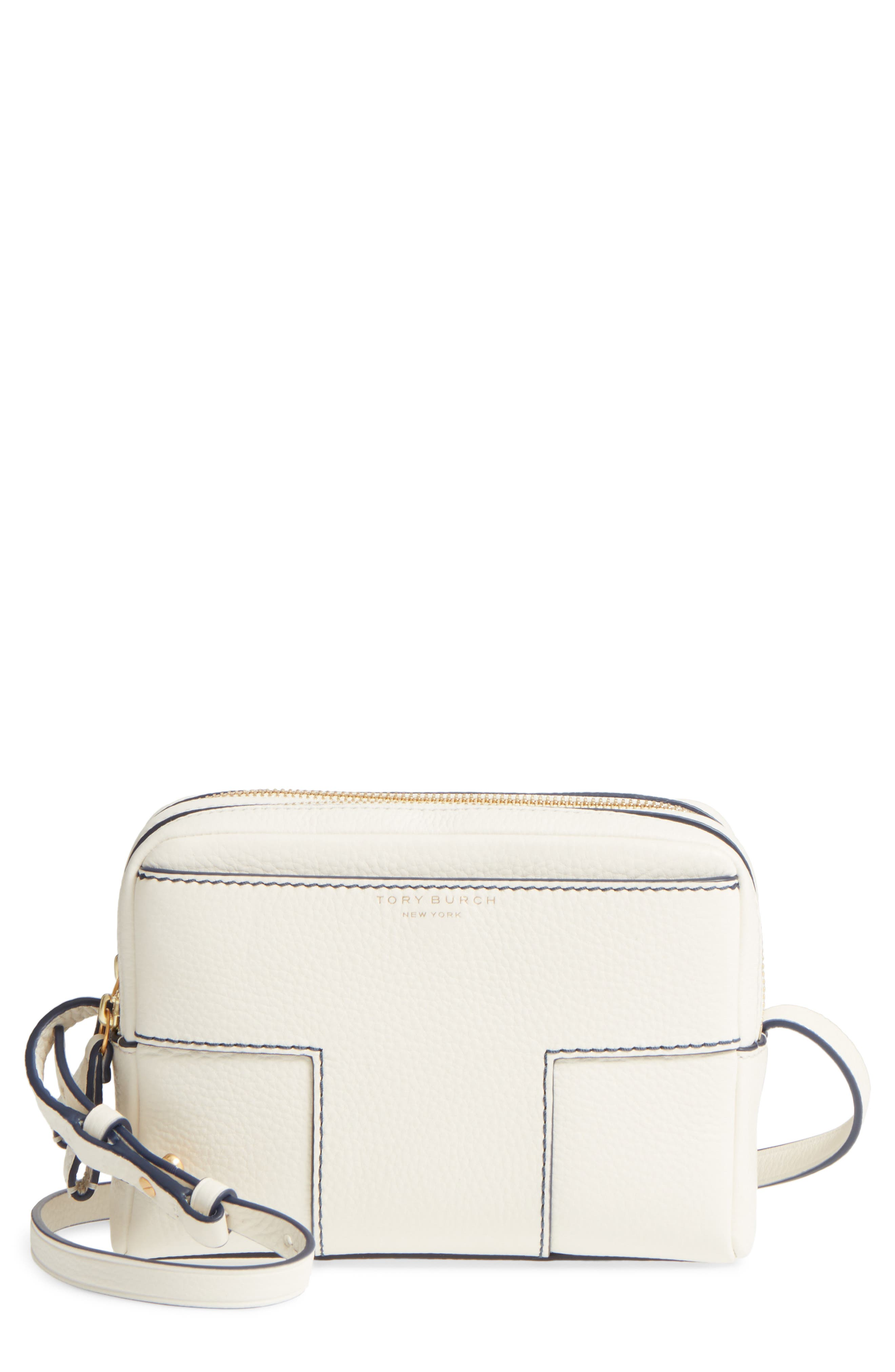 Block-T Double Zip Leather Crossbody Bag,                         Main,                         color, New Ivory