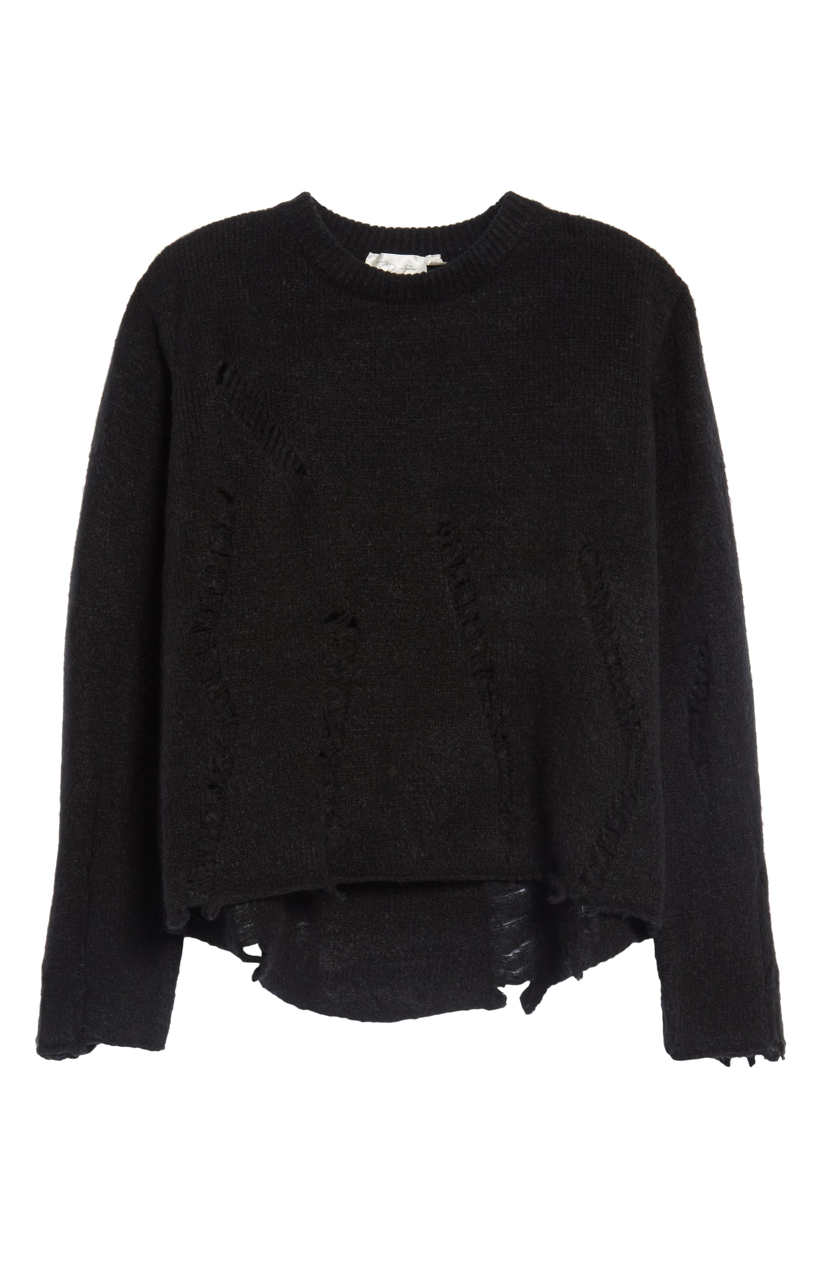 Destroyed High/Low Sweater,                             Alternate thumbnail 6, color,                             Black