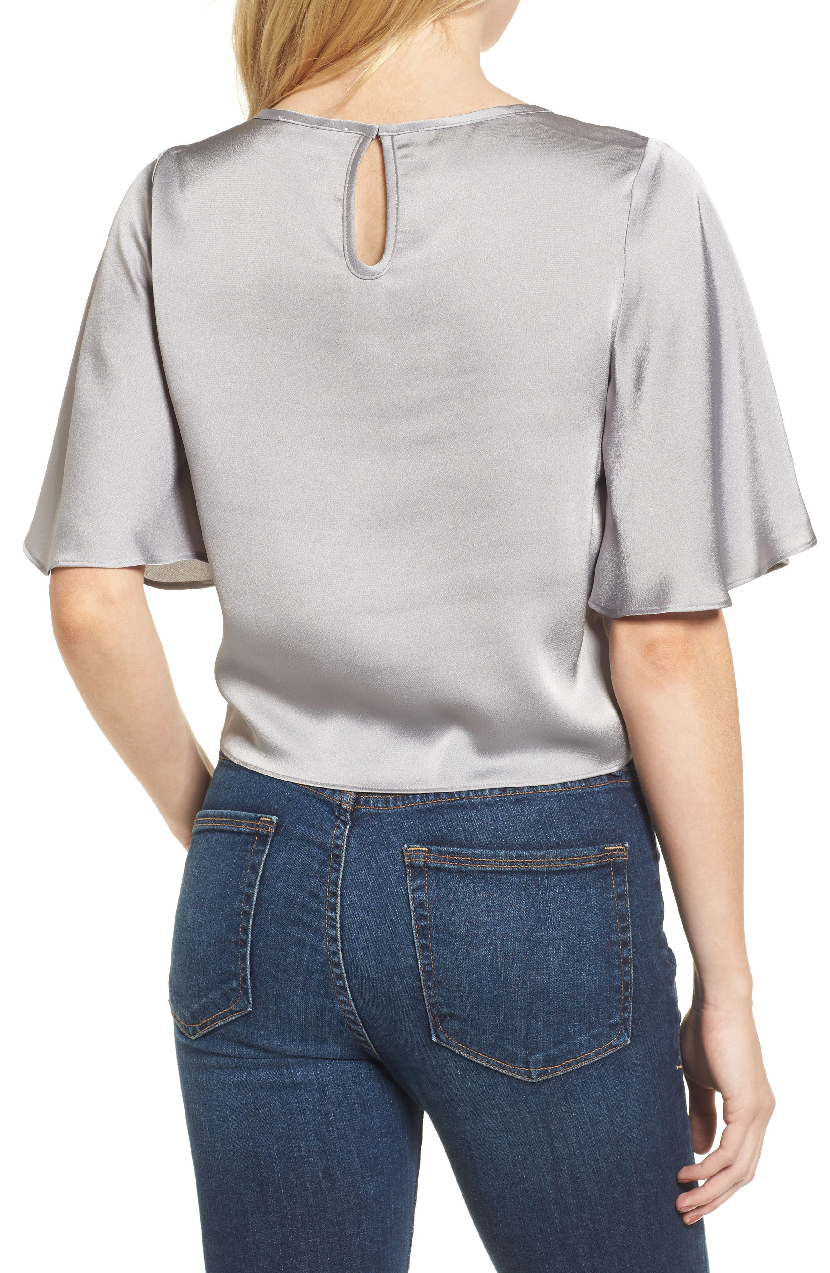 Tied Top,                             Alternate thumbnail 2, color,                             Grey