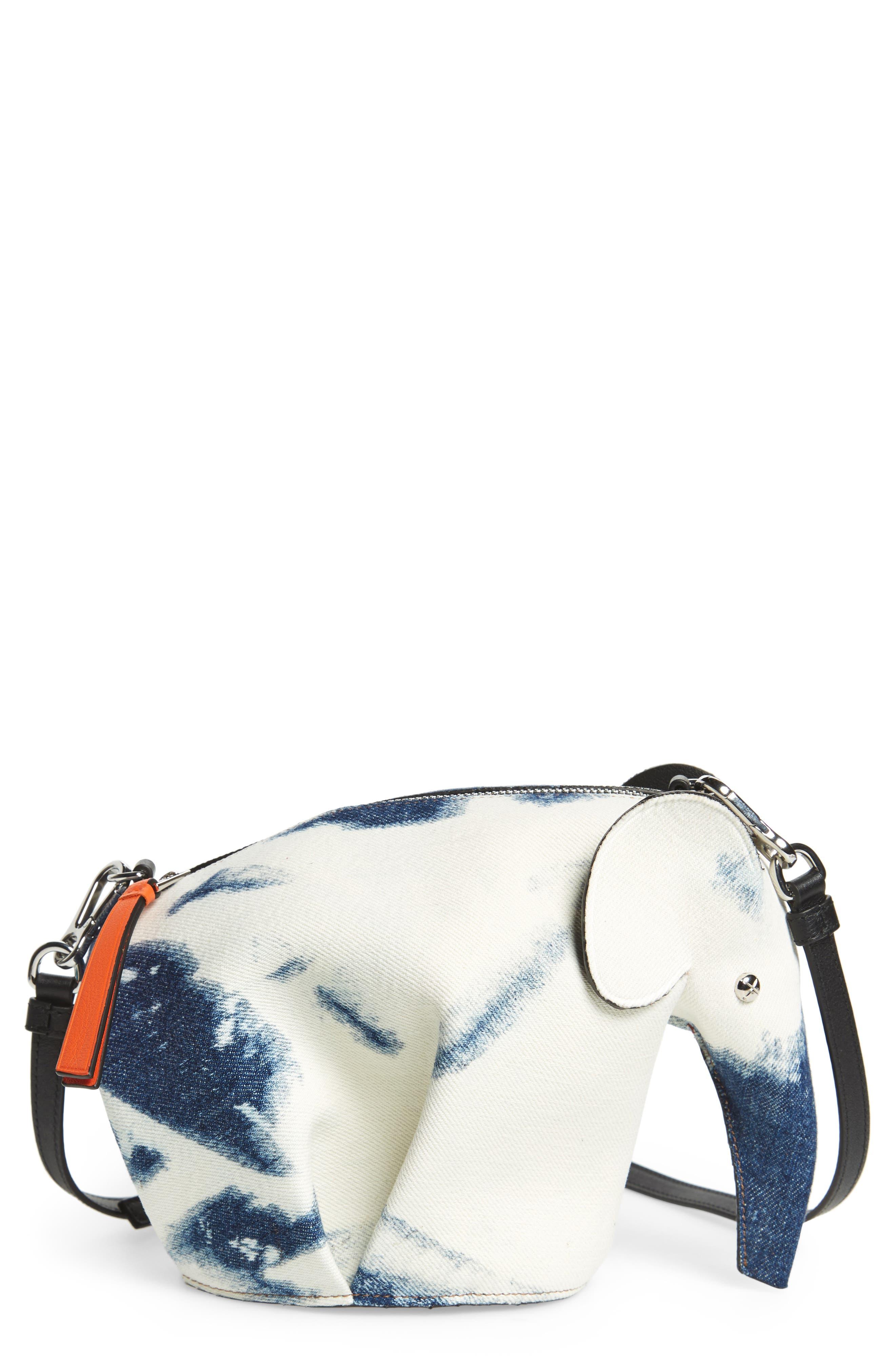 Denim Elephant Crossbody Bag,                             Main thumbnail 1, color,                             Blue Denim/ White/ Black