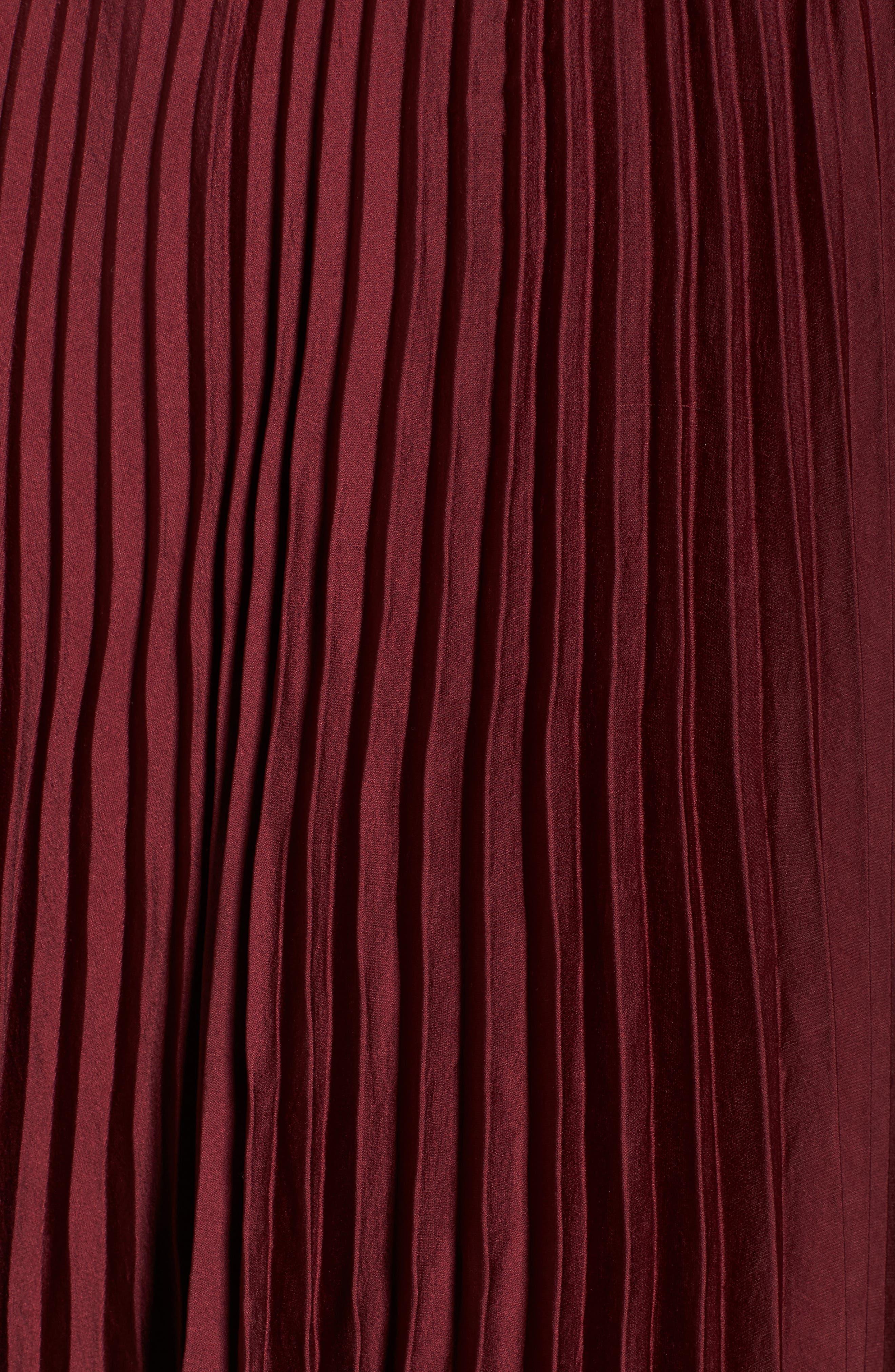 Pleated Midi Skirt,                             Alternate thumbnail 5, color,                             Burgundy