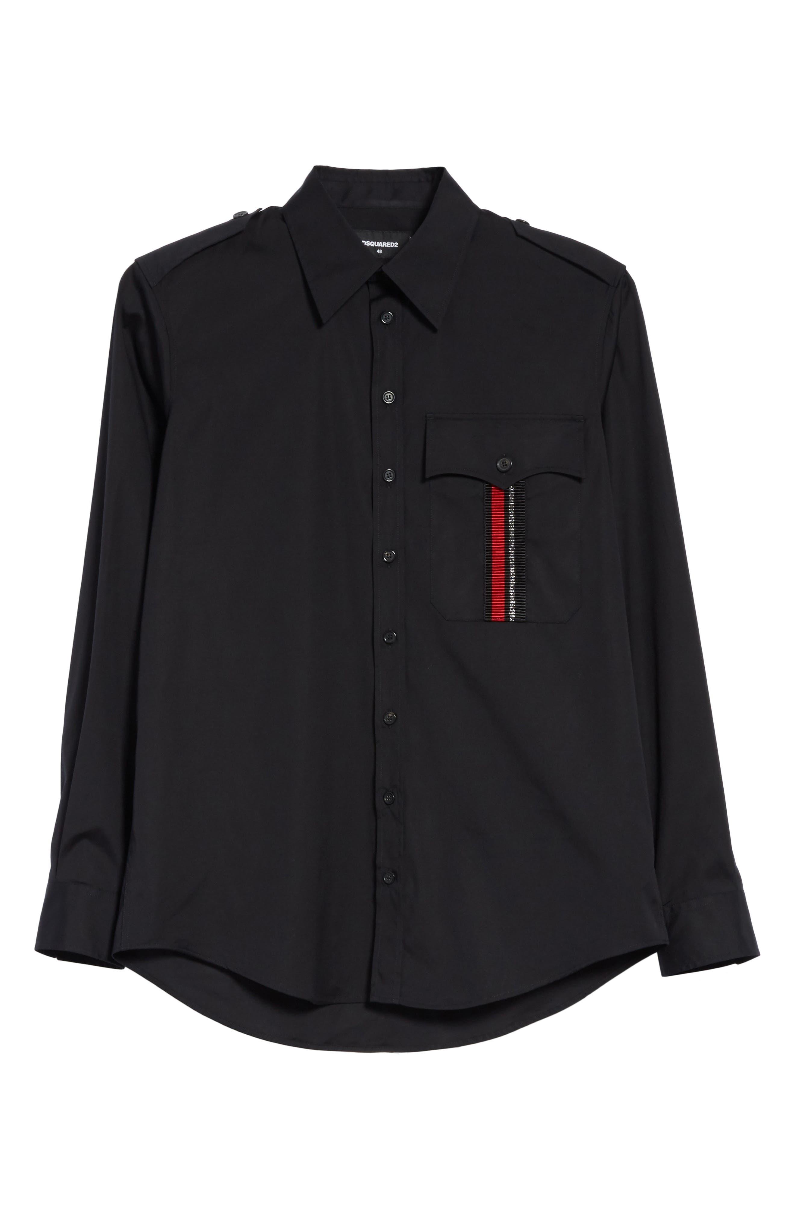 Military Shirt,                             Alternate thumbnail 6, color,                             Black