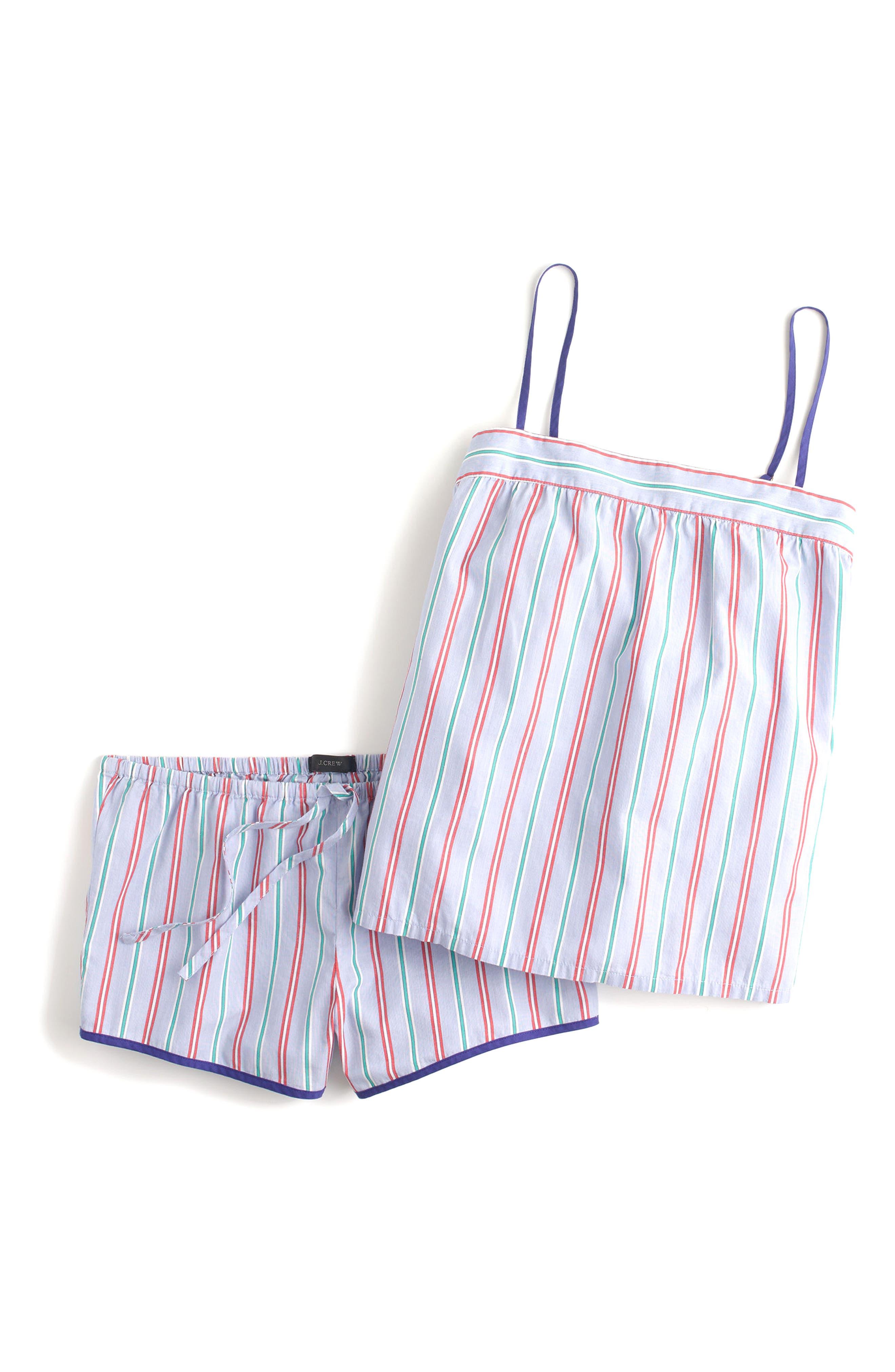 J.Crew Candy Stripe Short Pajamas,                             Alternate thumbnail 4, color,                             Holiday Stripe