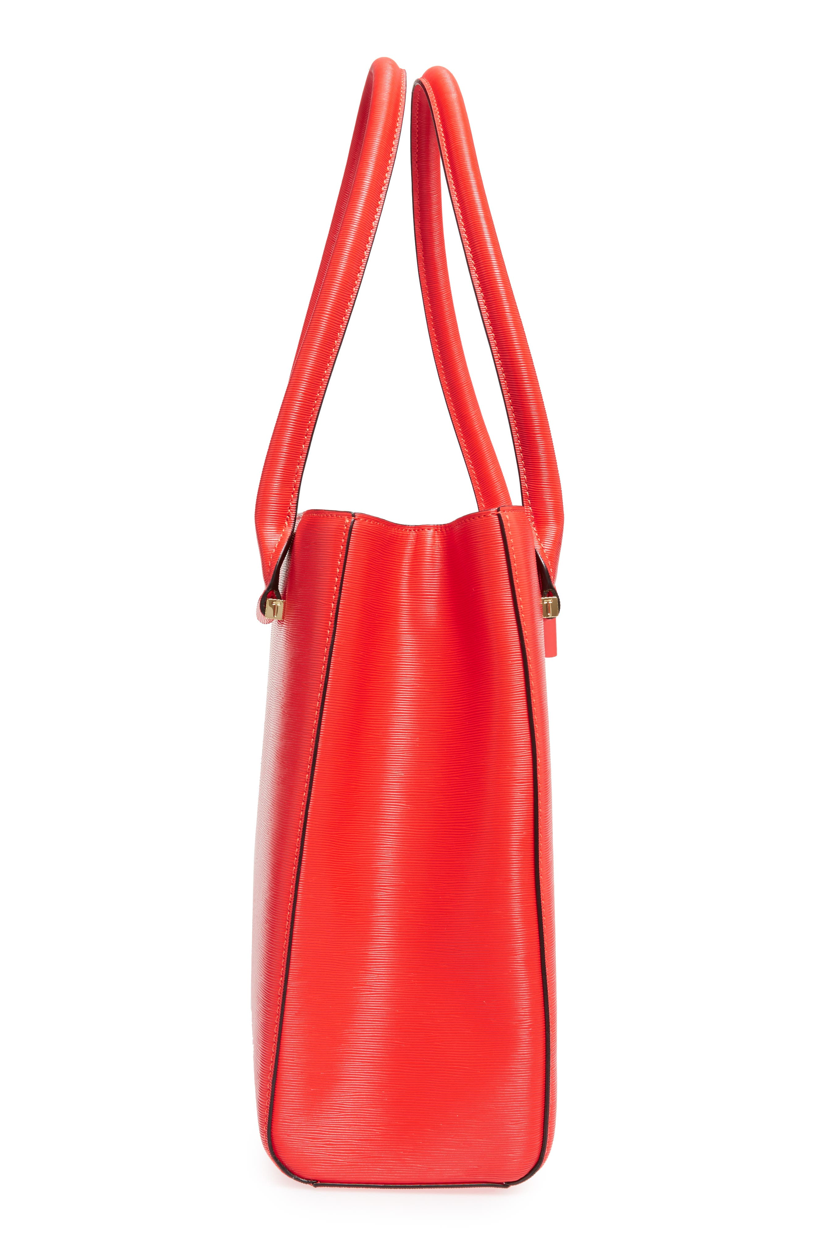 Callaa Bow Leather Shopper,                             Alternate thumbnail 4, color,                             Bright Red