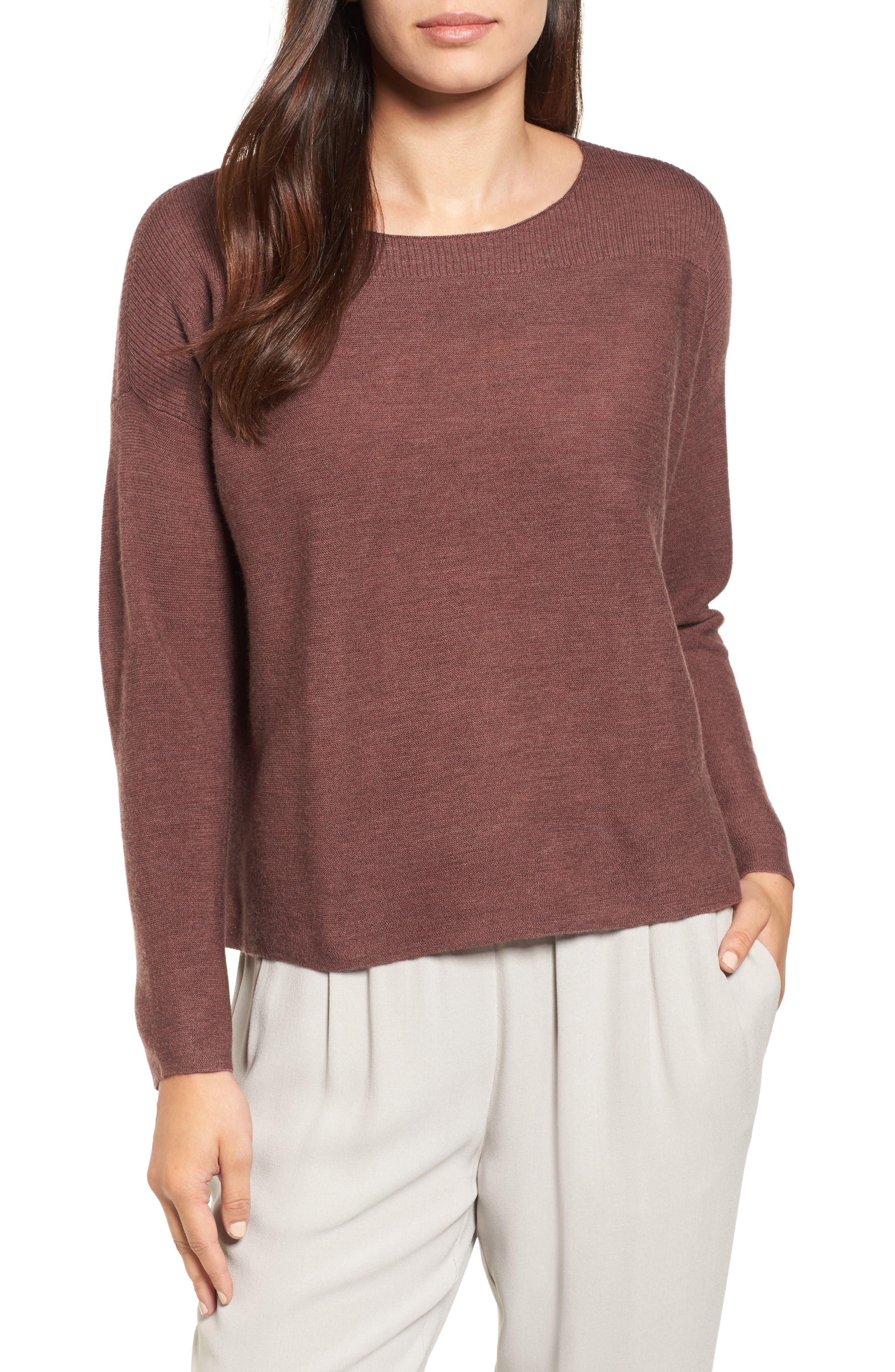 Eileen Fisher Mix Stitch Merino Bateau Neck Sweater (Regular & Petite)