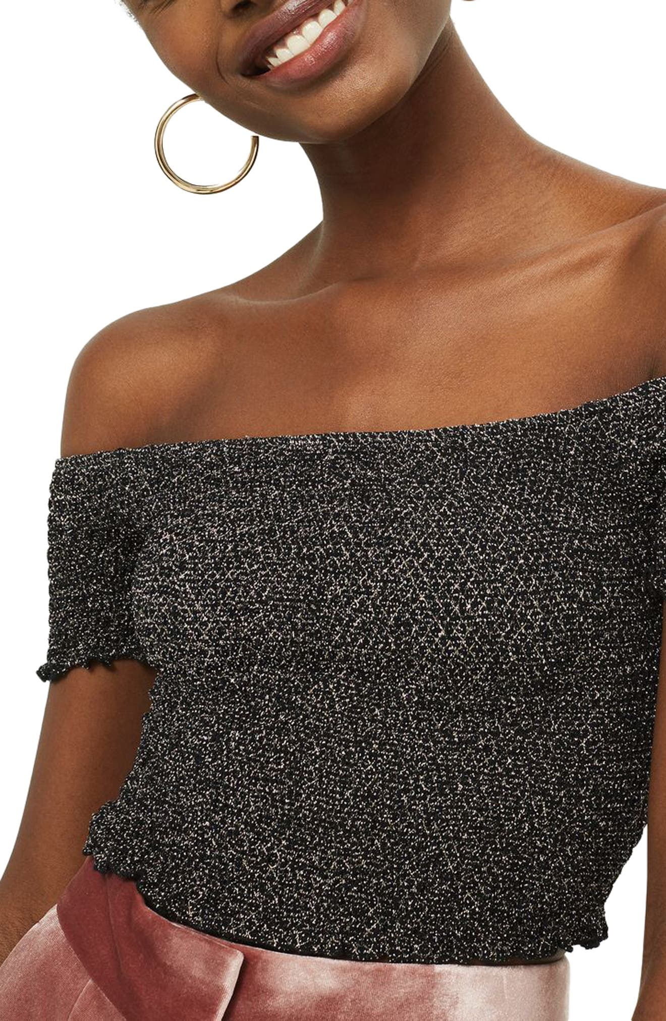 Shirred Metallic Off the Shoulder Top,                             Alternate thumbnail 3, color,                             Black Multi