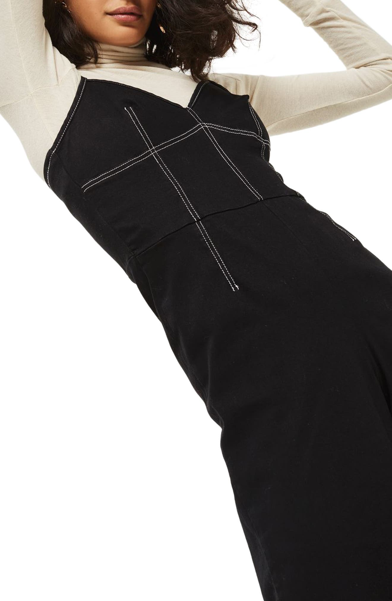 Contrast Stitch Jumpsuit,                             Alternate thumbnail 3, color,                             Black