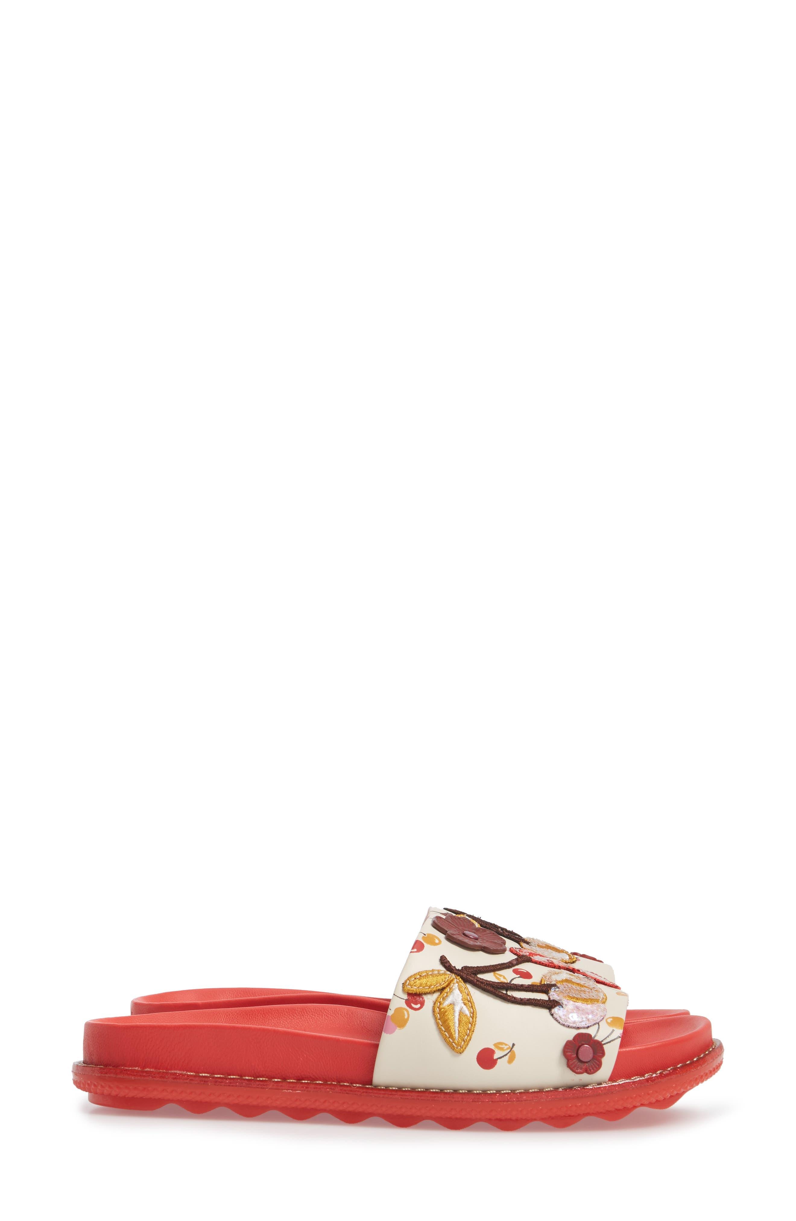Patch Sport Slide Sandal,                             Alternate thumbnail 3, color,                             Ivory/ Red Leather