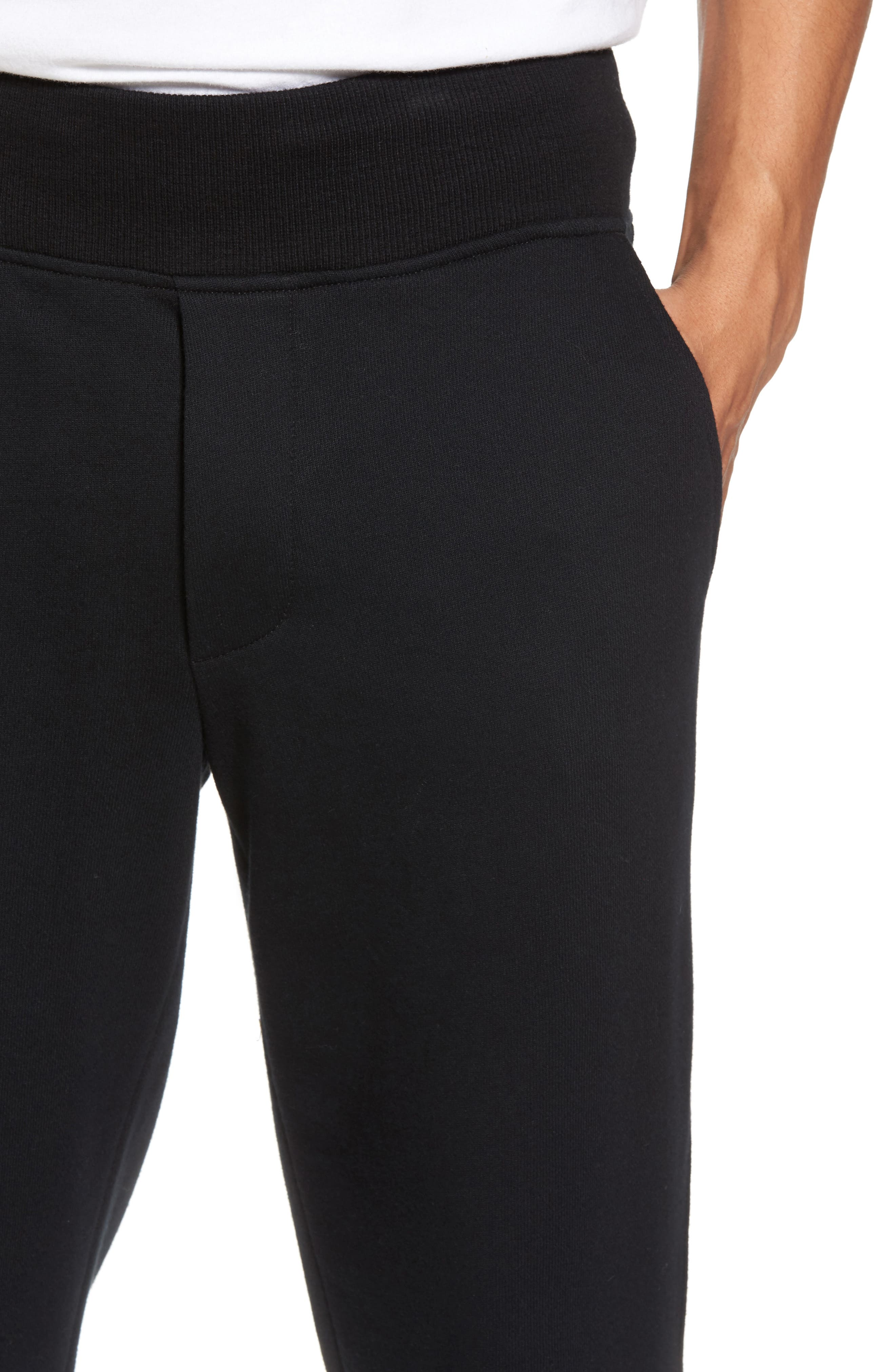 French Terry Regular Fit Sweatpants,                             Alternate thumbnail 4, color,                             Black