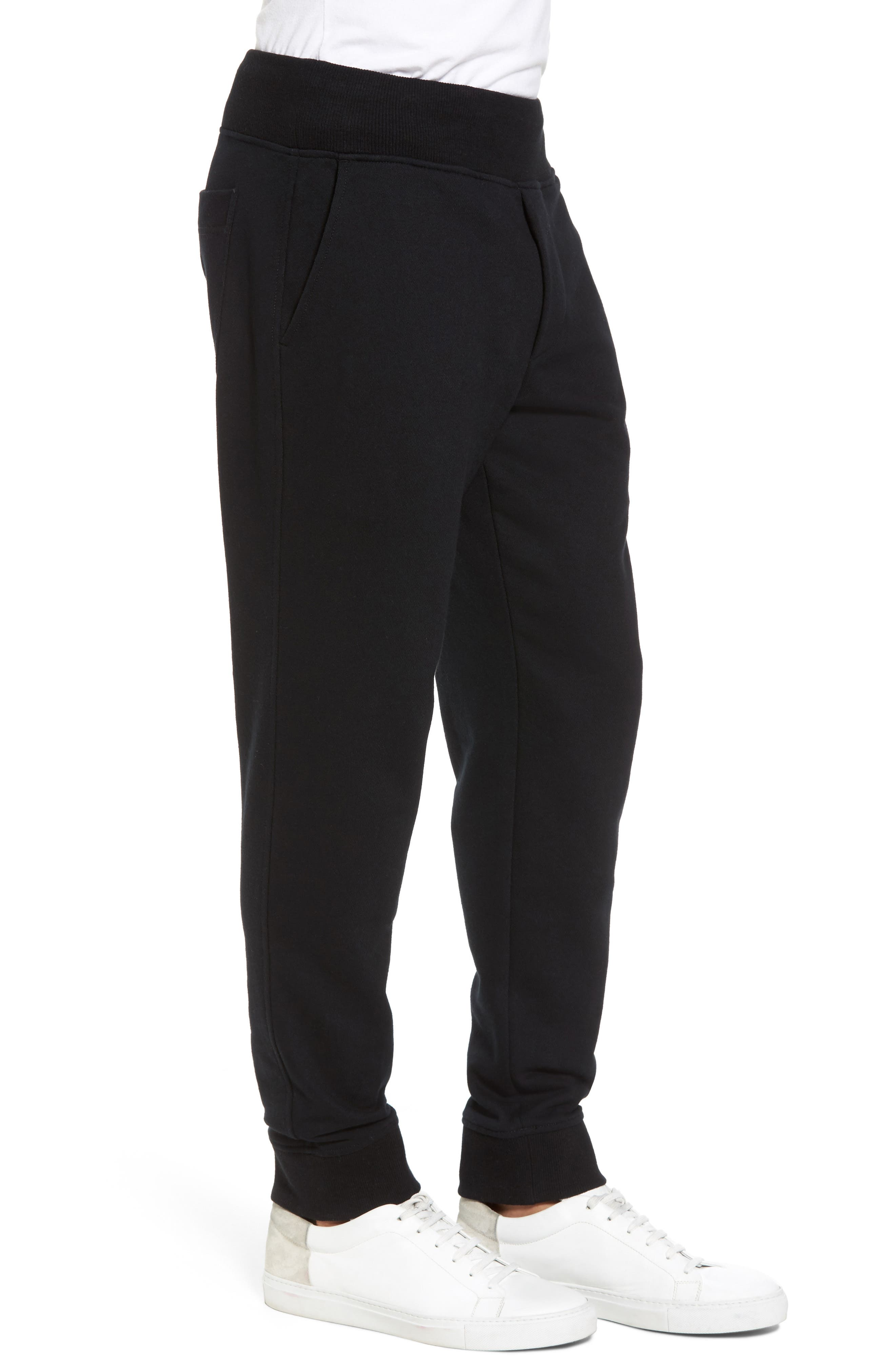 French Terry Regular Fit Sweatpants,                             Alternate thumbnail 3, color,                             Black