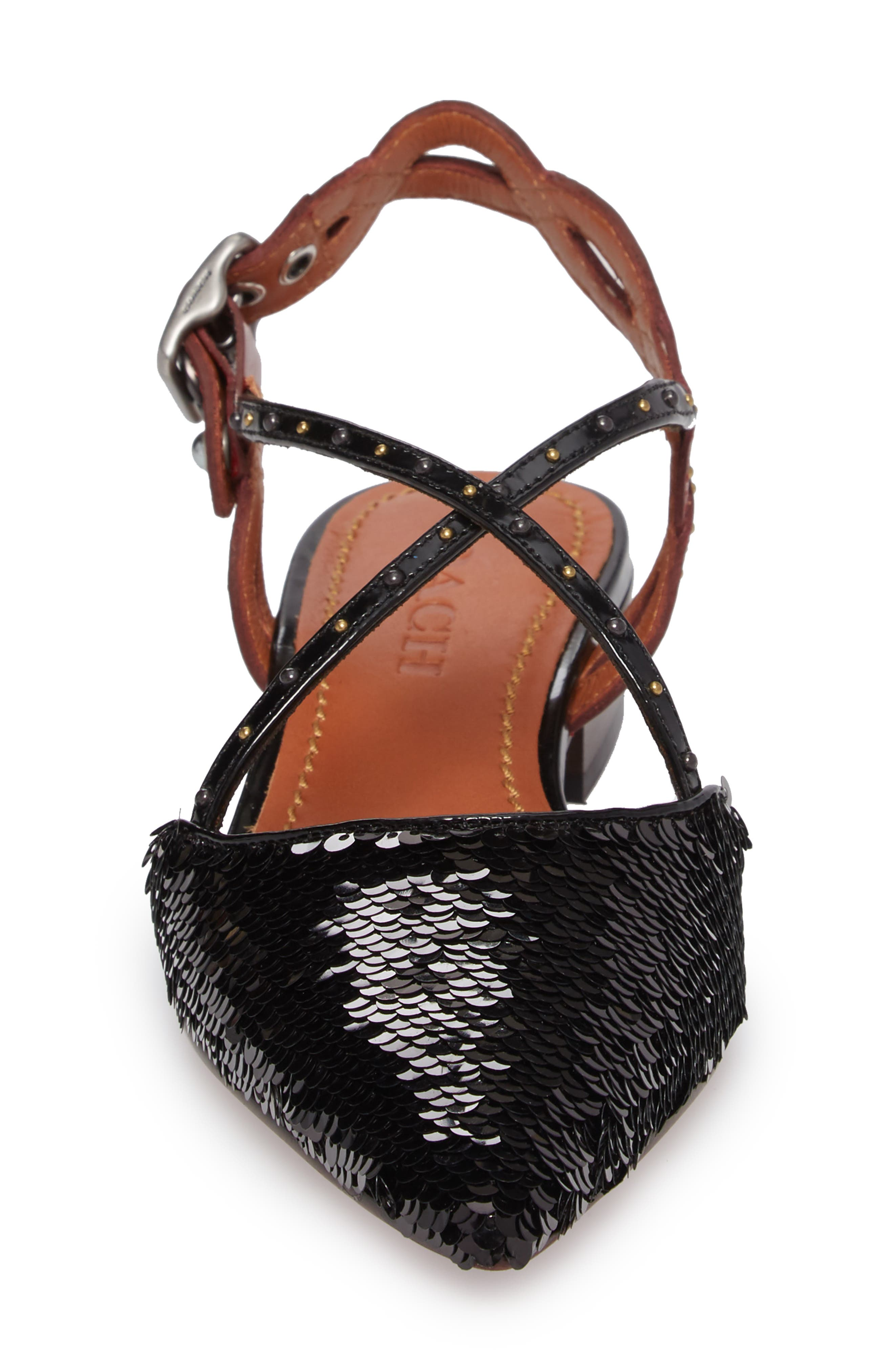 Sequin Slingback Flat,                             Alternate thumbnail 4, color,                             Black/ Wine Leather