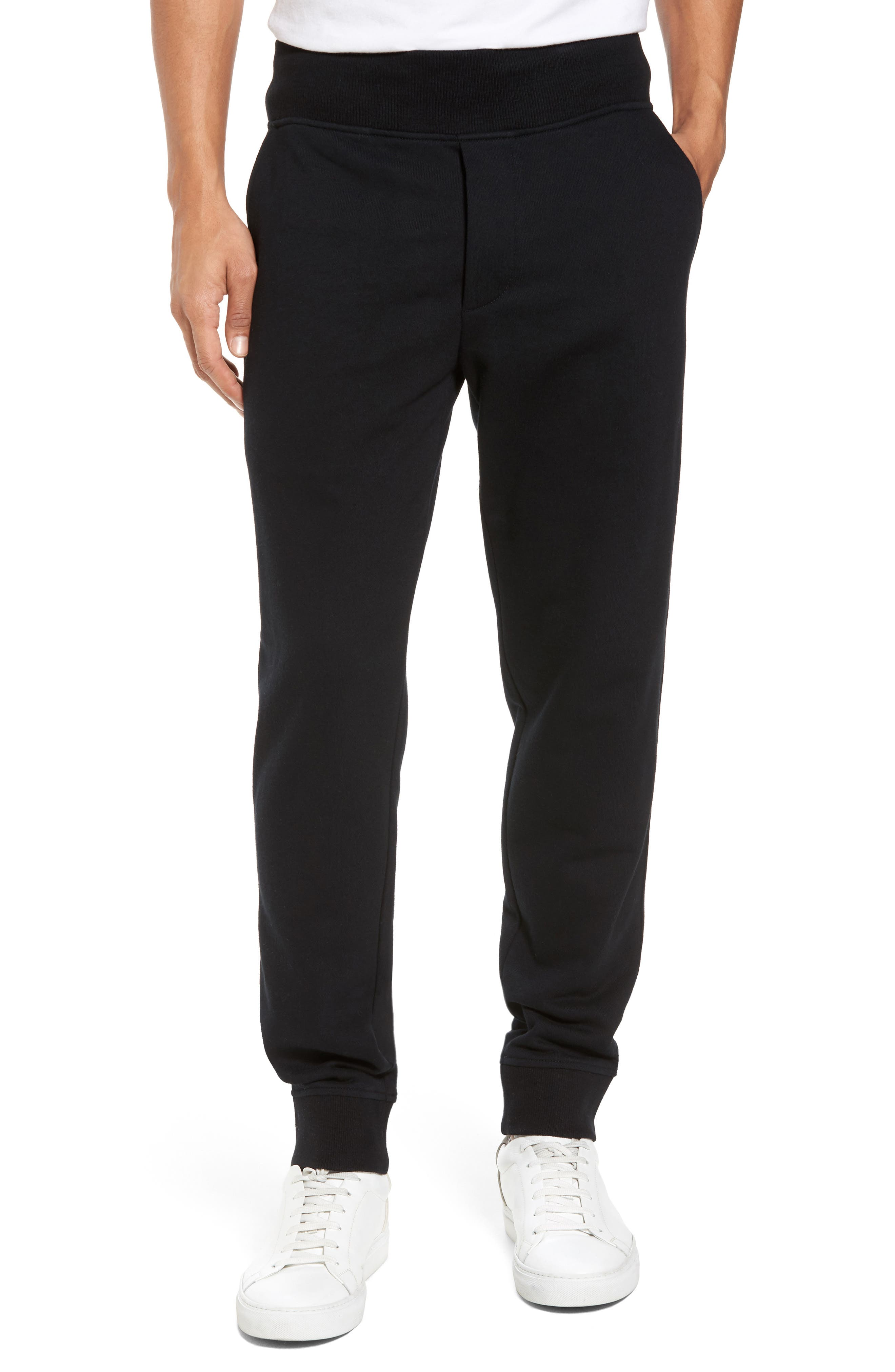 French Terry Regular Fit Sweatpants,                             Main thumbnail 1, color,                             Black